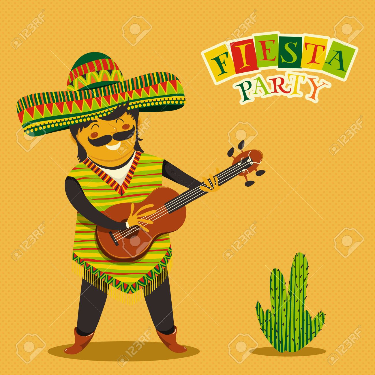 Mexican Fiesta Party Invitation With Mexican Man Playing The ...