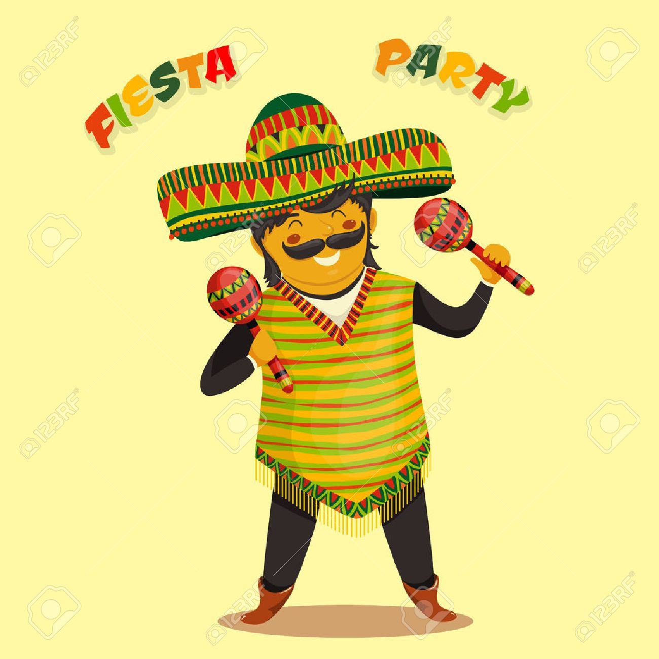 Mexican Fiesta Party Invitation with Mexican man playing the maracas in a sombrero. Hand drawn illustration poster. Flyer or greeting card template - 43853166