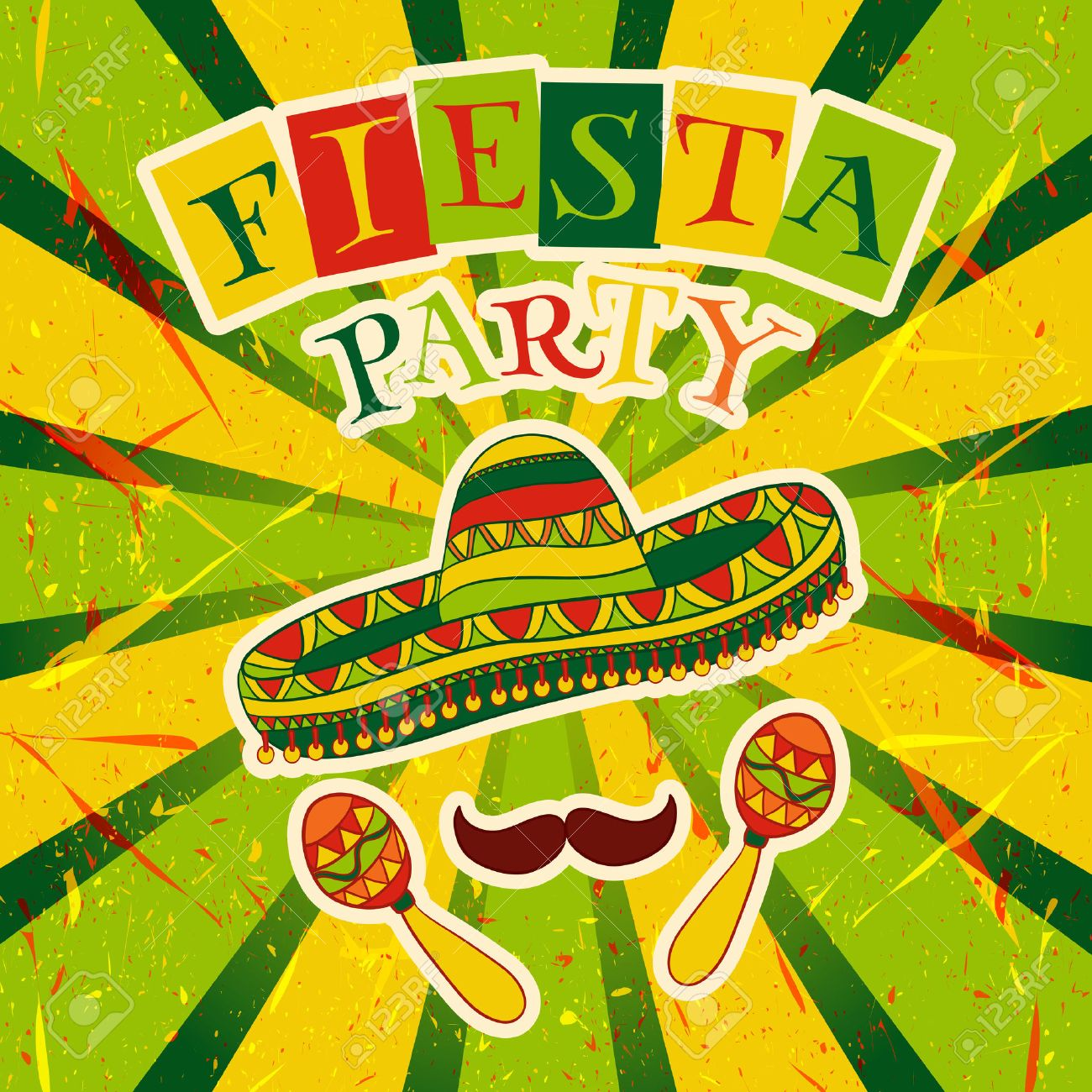 Mexican Fiesta Party Invitation with maracas, sombrero and mustache. Hand drawn illustration poster with grunge background - 43853183