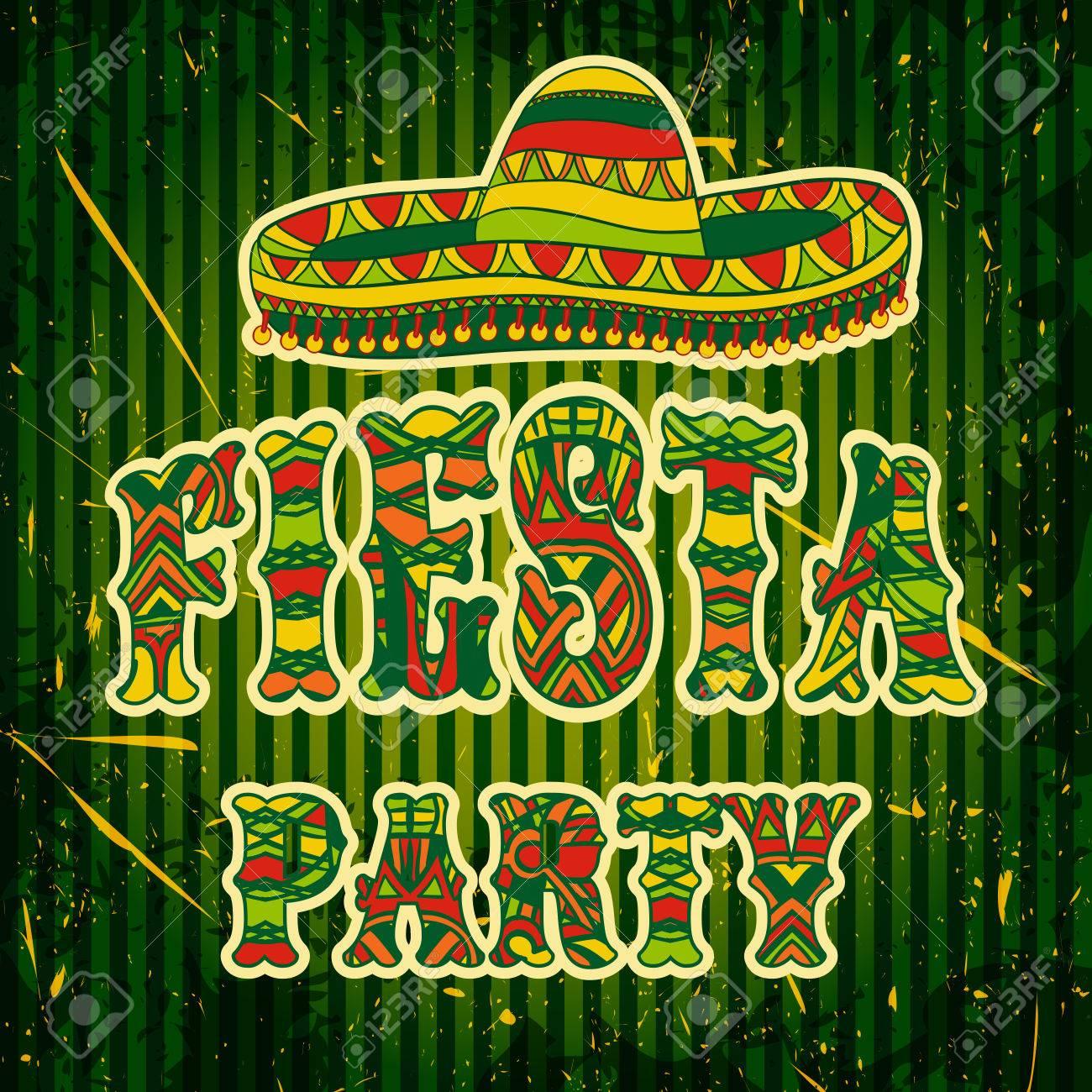 Invitación Del Partido De La Fiesta Mexicana Con Sombrero Y Colorido Título Adornado Tribal étnica Dibujado A Mano Ilustración Del Cartel Con El