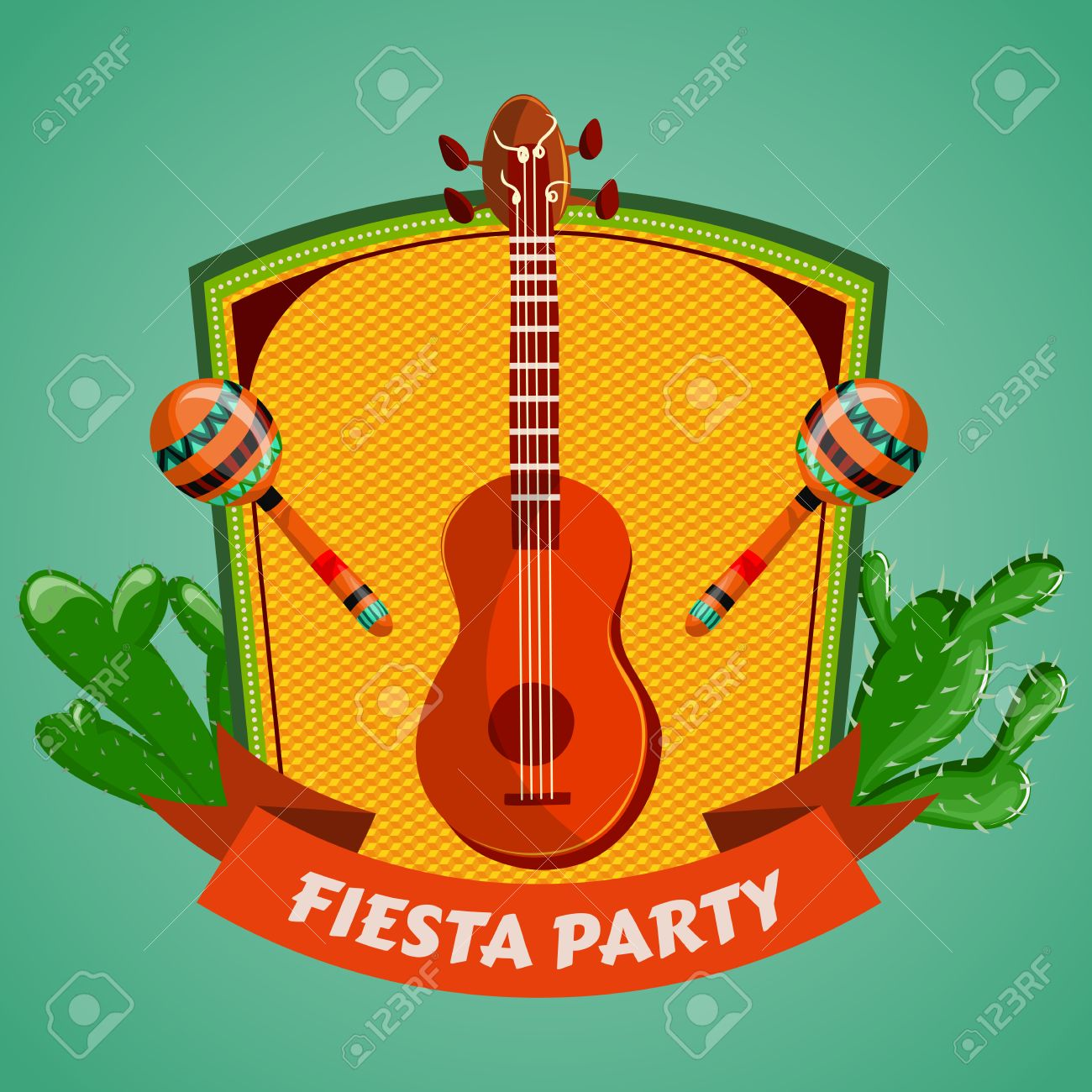 Mexican Fiesta Party poster with maracas, mexican guitar and cactuses. Flyer or greeting card template. Vector illustration - 43922077
