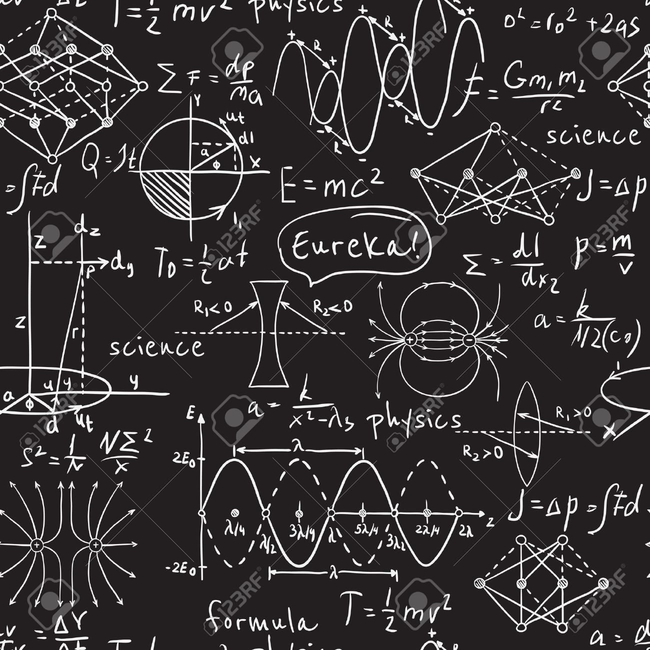 Physical formulas, graphics and scientific calculations on chalkboard. Vintage hand drawn illustration laboratory seamless pattern - 43922158