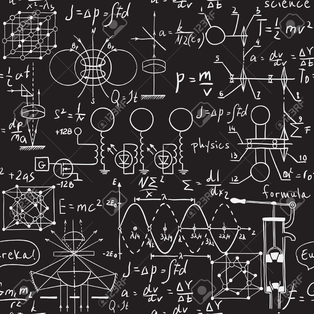 Physical formulas, graphics and scientific calculations on chalkboard. Vintage hand drawn illustration laboratory seamless pattern - 43922159