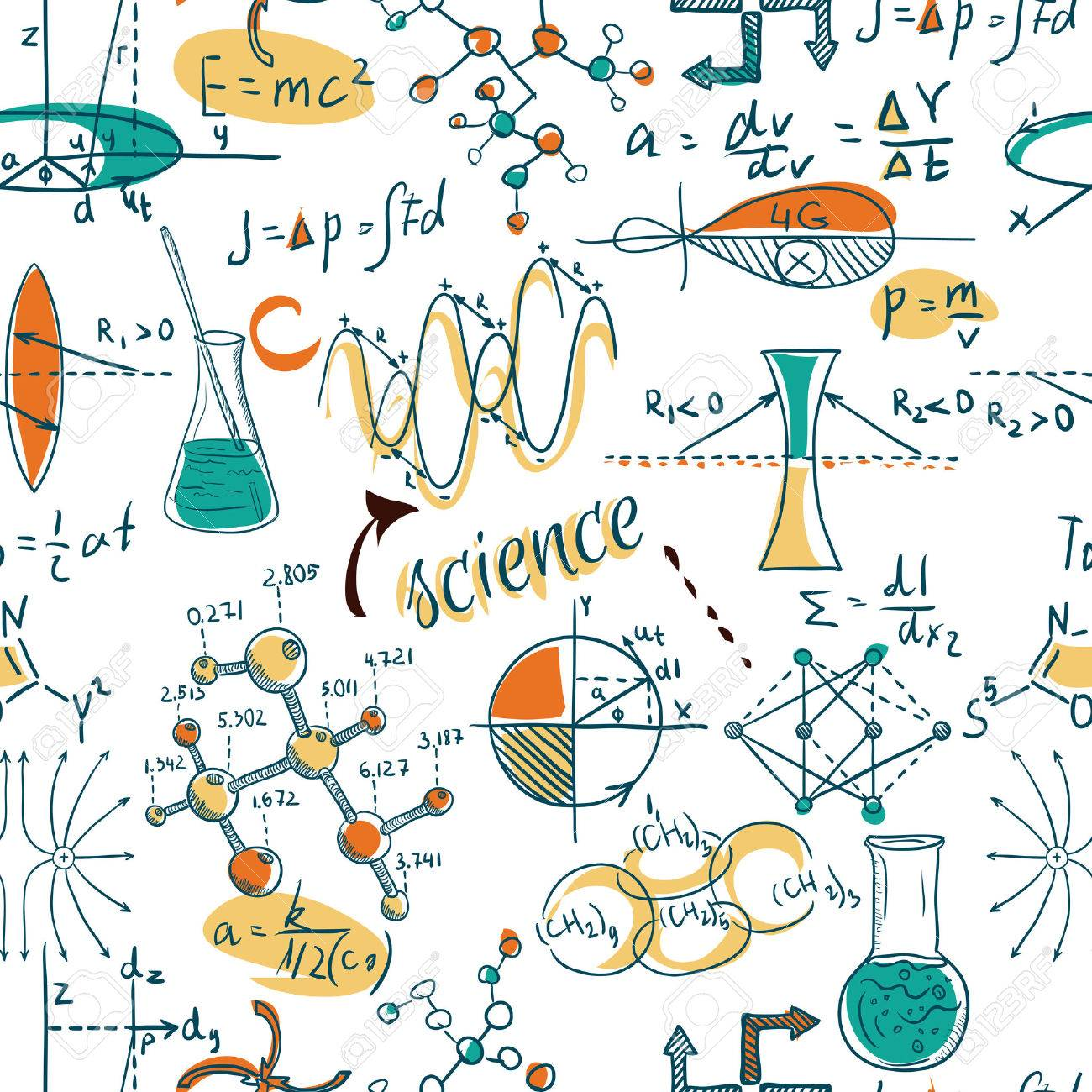 Back to School: science lab objects doodle vintage style sketches seamless pattern, vector illustration. - 43922160
