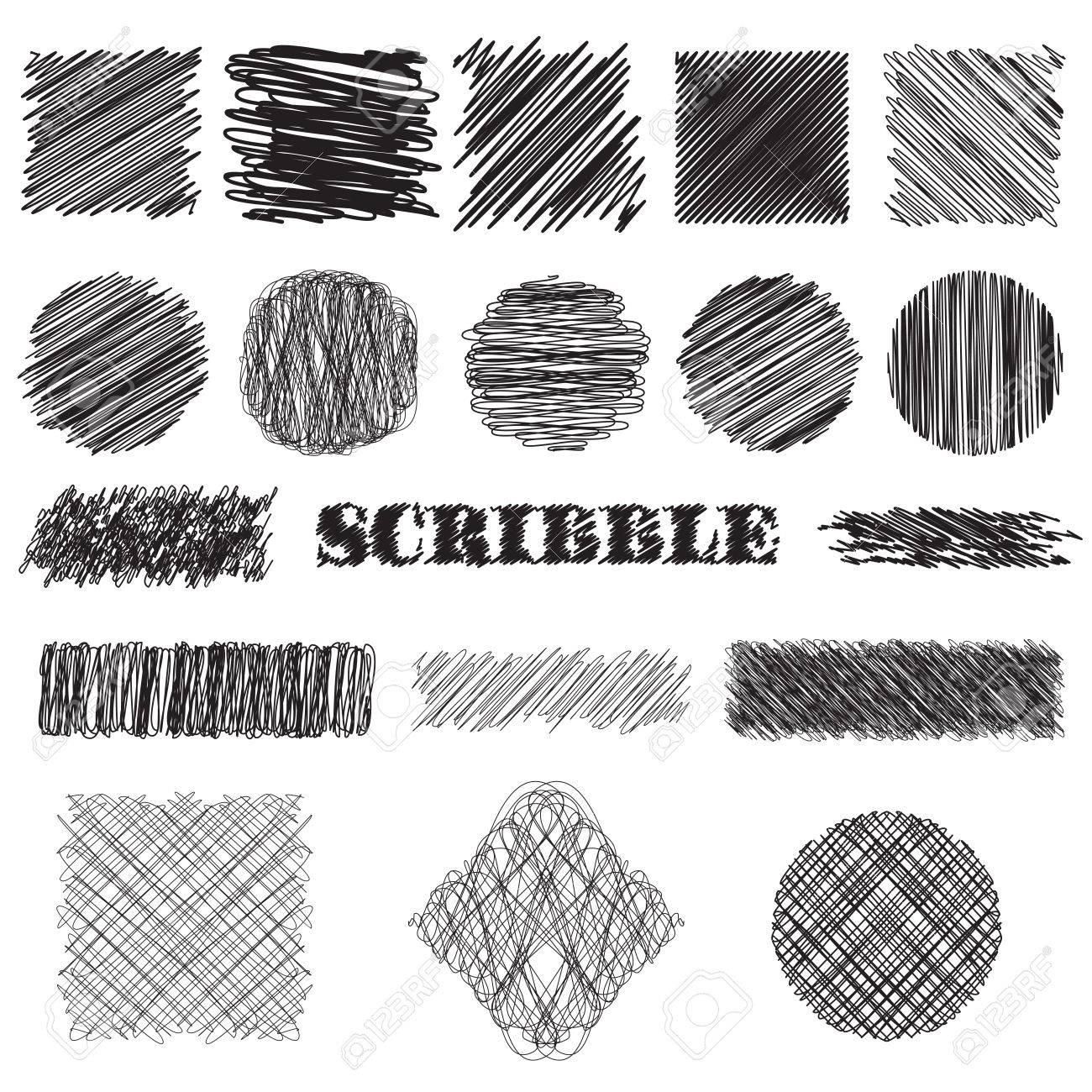 vector set of scribble brushes. Collection of ink lines, set of hand drawn textures, scribbles of pen, hatching, scratch - 43922180