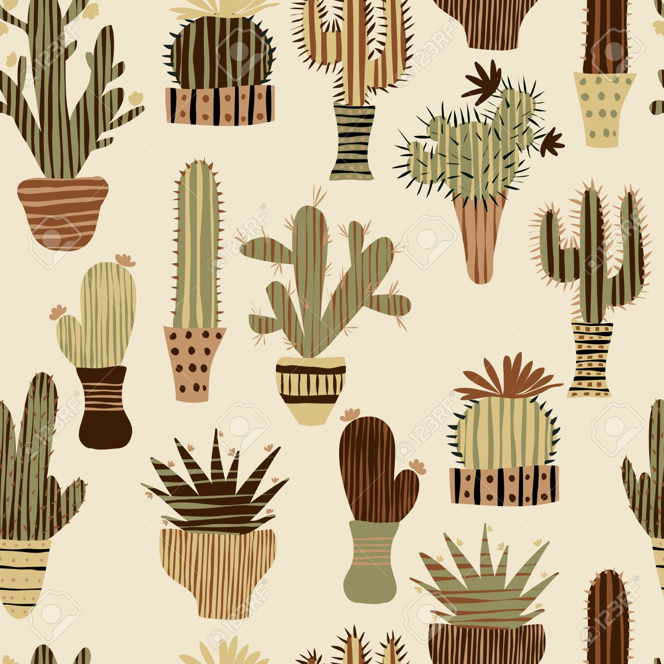 Flat seamless pattern with succulent plants and cactuses in pots. Vector botanical graphic set with cute florals. - 43922205