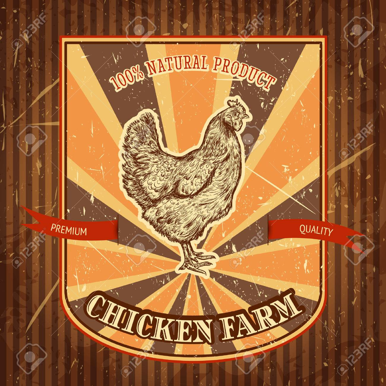 organic chicken farm vintage label with chicken on the grunge background. Retro hand drawn vector illustration poster in sketch style - 43922220