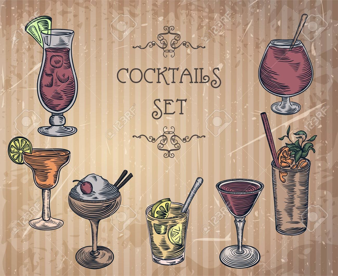 Collection of vintage cocktails with art deco border  Retro hand
