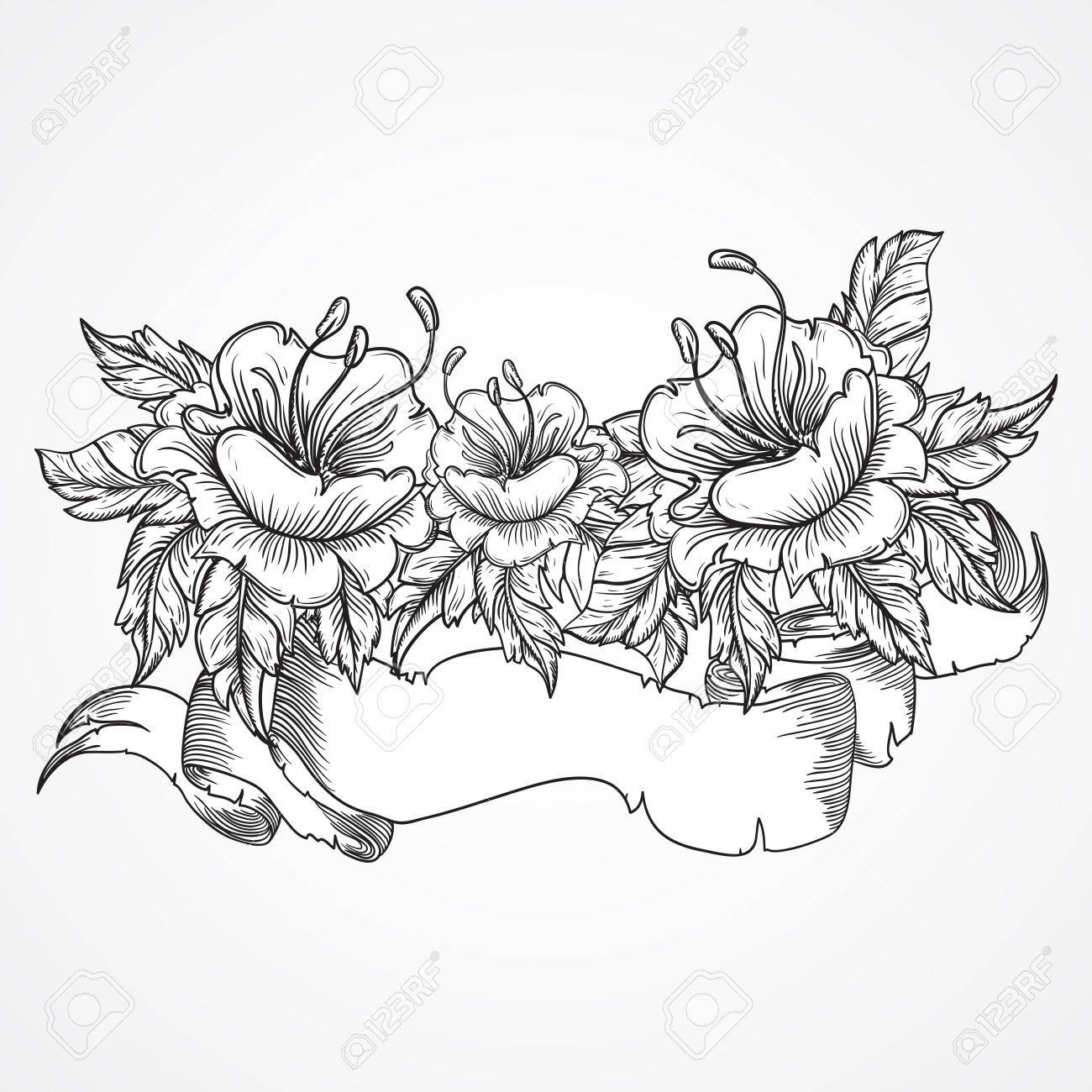 Vintage Floral Highly Detailed Hand Drawn Bouquet Of Flowers
