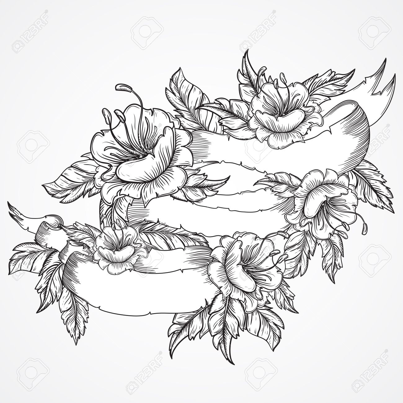 Vintage Floral Highly Detailed Hand Drawn Bouquet Of Flowers Royalty Free Cliparts Vectors And Stock Illustration Image 44082936
