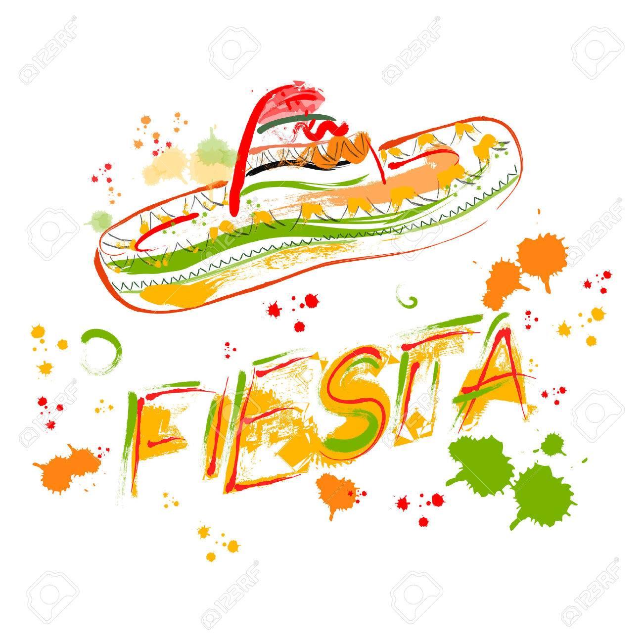 Mexican Fiesta Party Invitation With Sombrero. Hand Drawn Vector ...