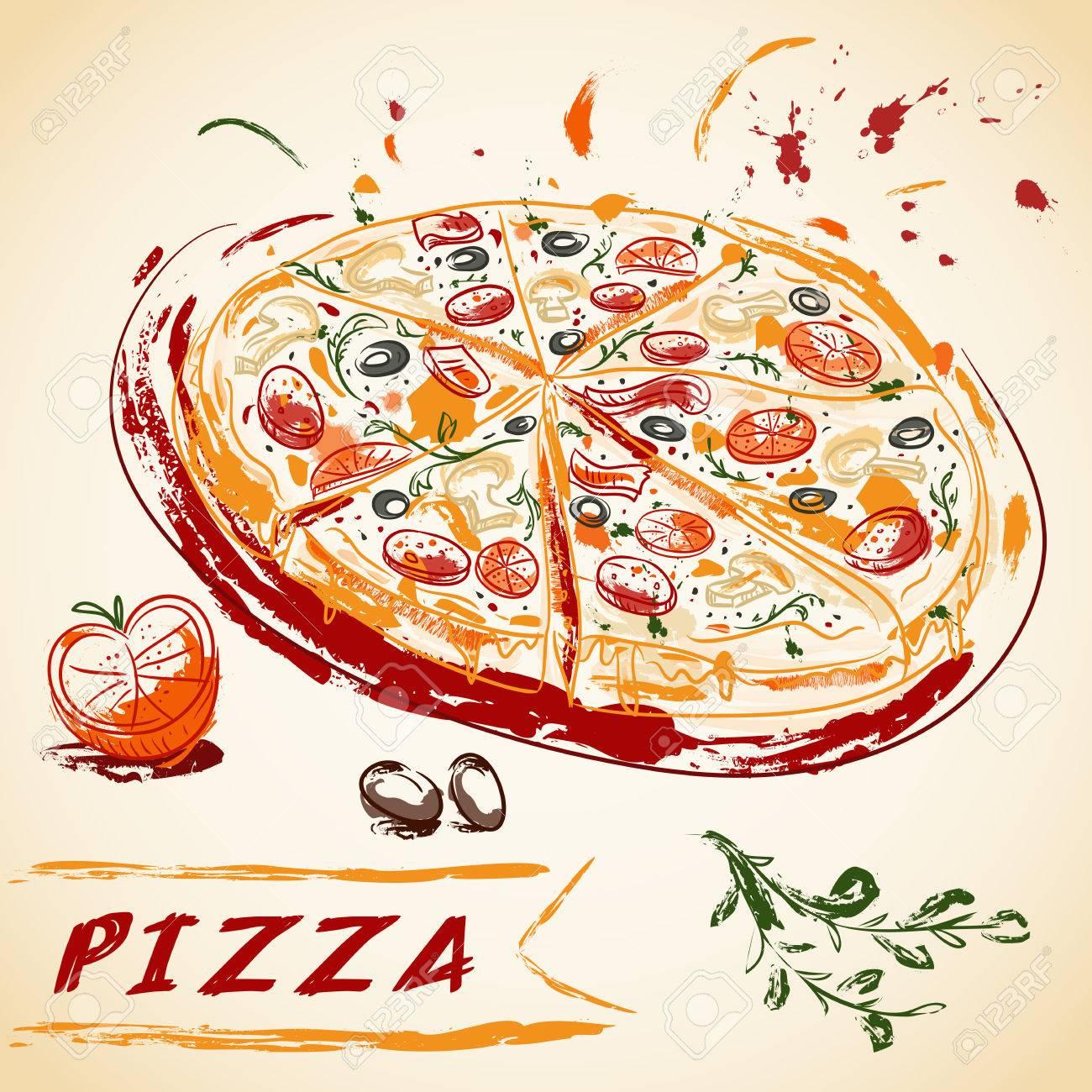 Vintage hand drawn Italian tasty sliced pizza. Vector illustration. - 45883372