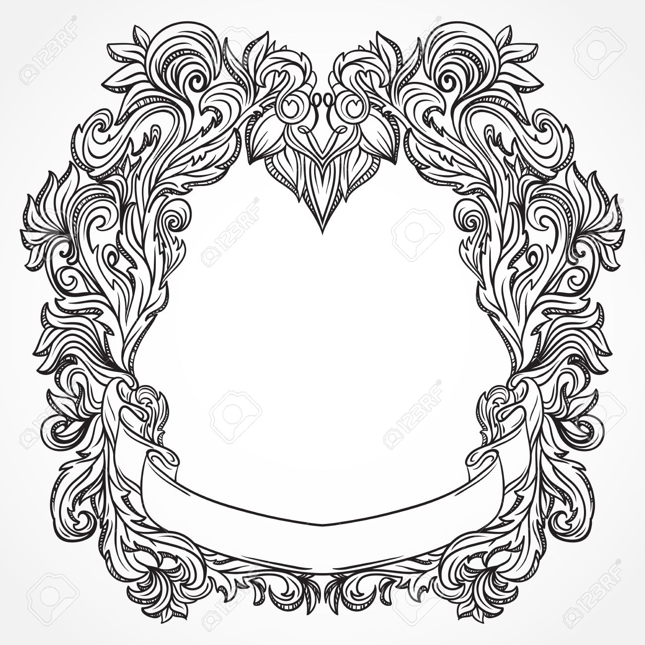 antique border frame engraving with retro ornament pattern vintage design decorative element in baroque style