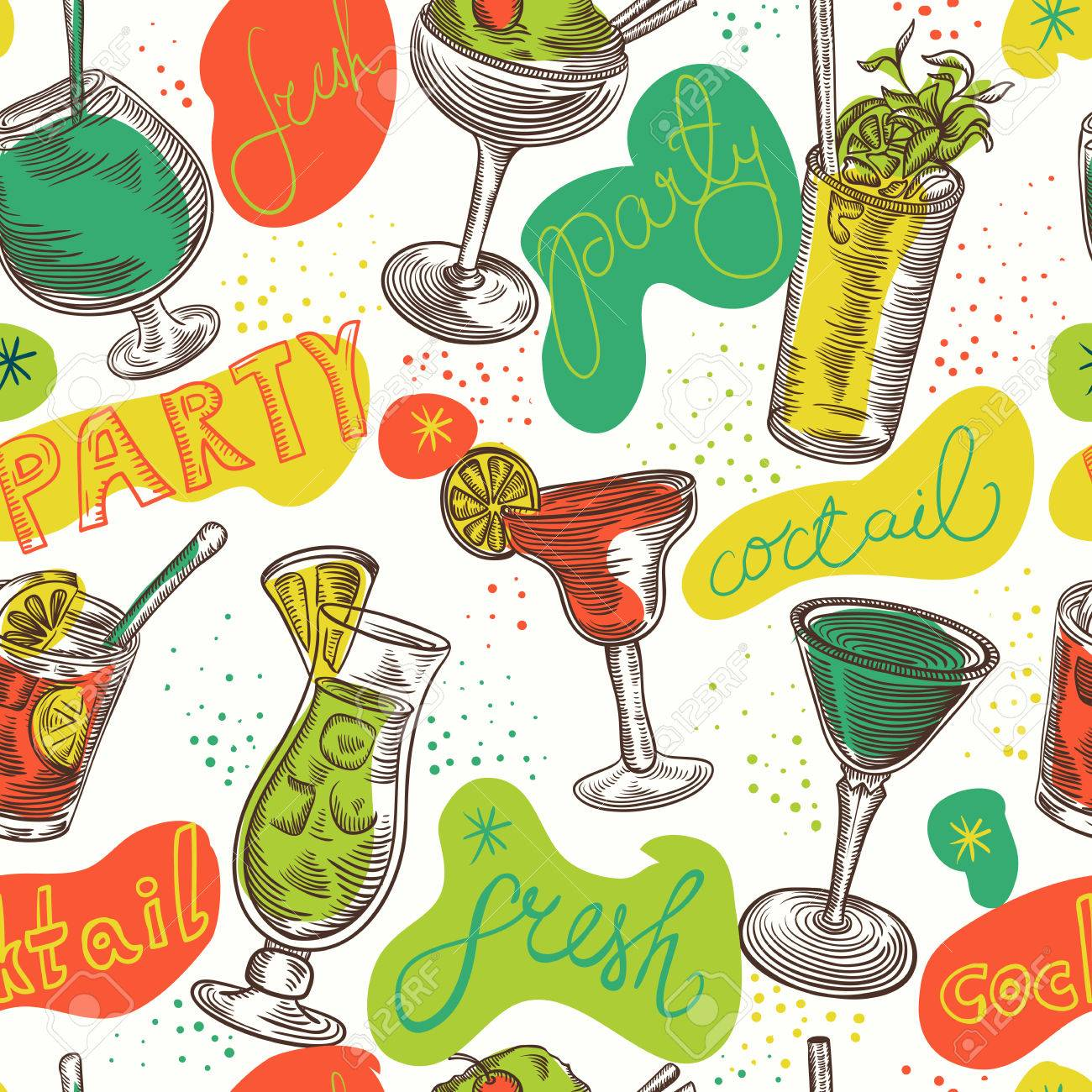 Seamless pattern with vintage cocktails and hand drawn lettering