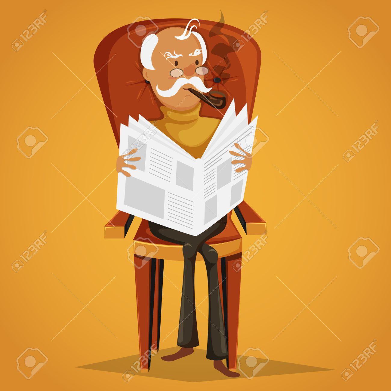 Vieil Homme Fumant Une Pipe Et En Lisant Un Journal Assis Sur Un