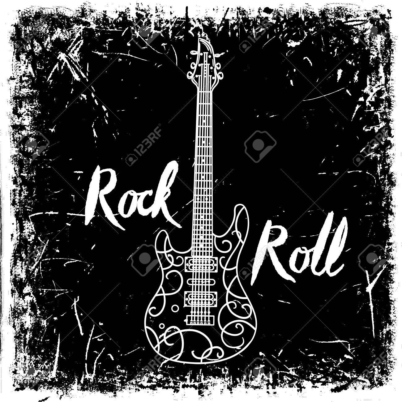 Vintage hand drawn poster with electric guitar and lettering rock and roll on grunge background. Retro vector illustration. Design, retro card, print, t-shirt, postcard - 49797514