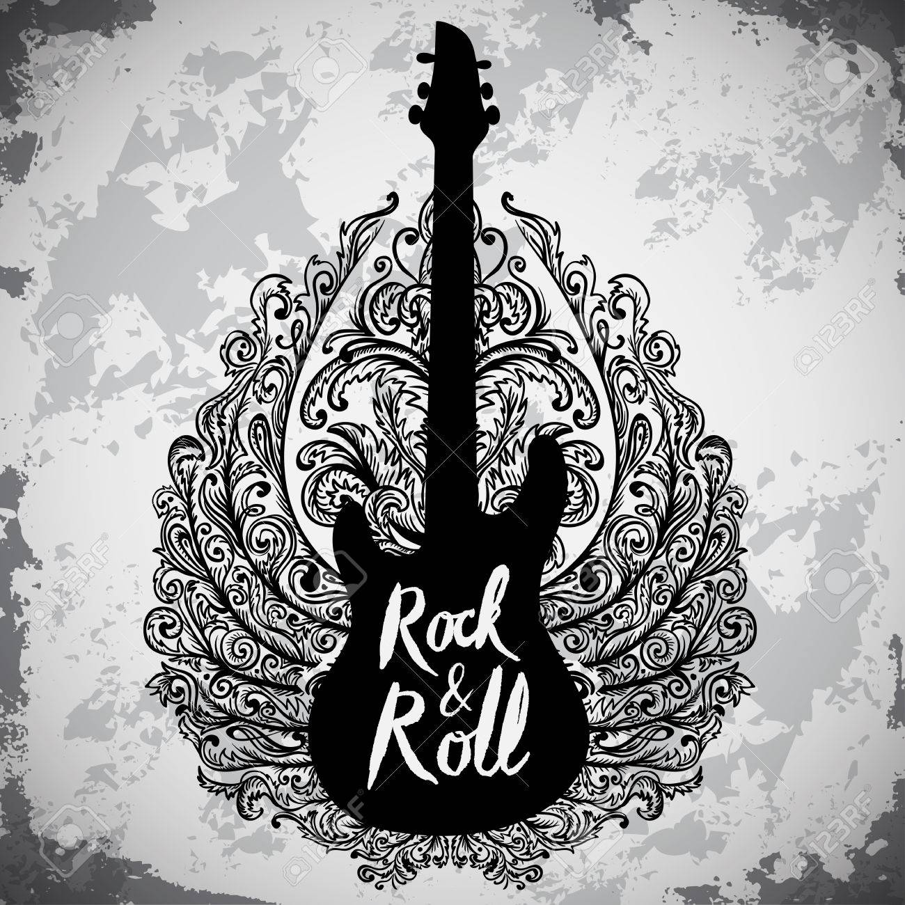 Vintage hand drawn poster with electric guitar, ornate wings and lettering rock and roll on grunge background. Retro vector illustration. Design, retro card, print, t-shirt, postcard - 49797524