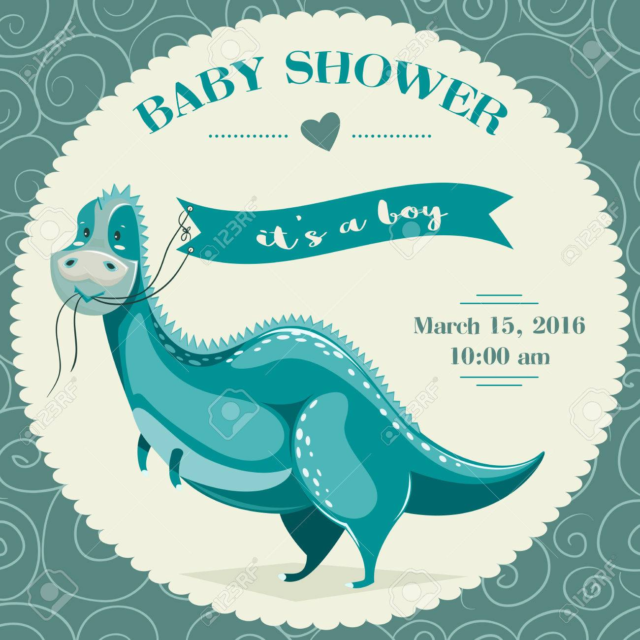 Baby Shower Invitation Template With Cartoon Dinosaur Vector