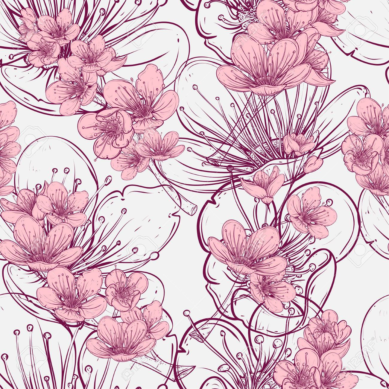 Seamless Pattern With Cherry Tree Blossom Vintage Hand Drawn Illustration In Sketch Style Stock