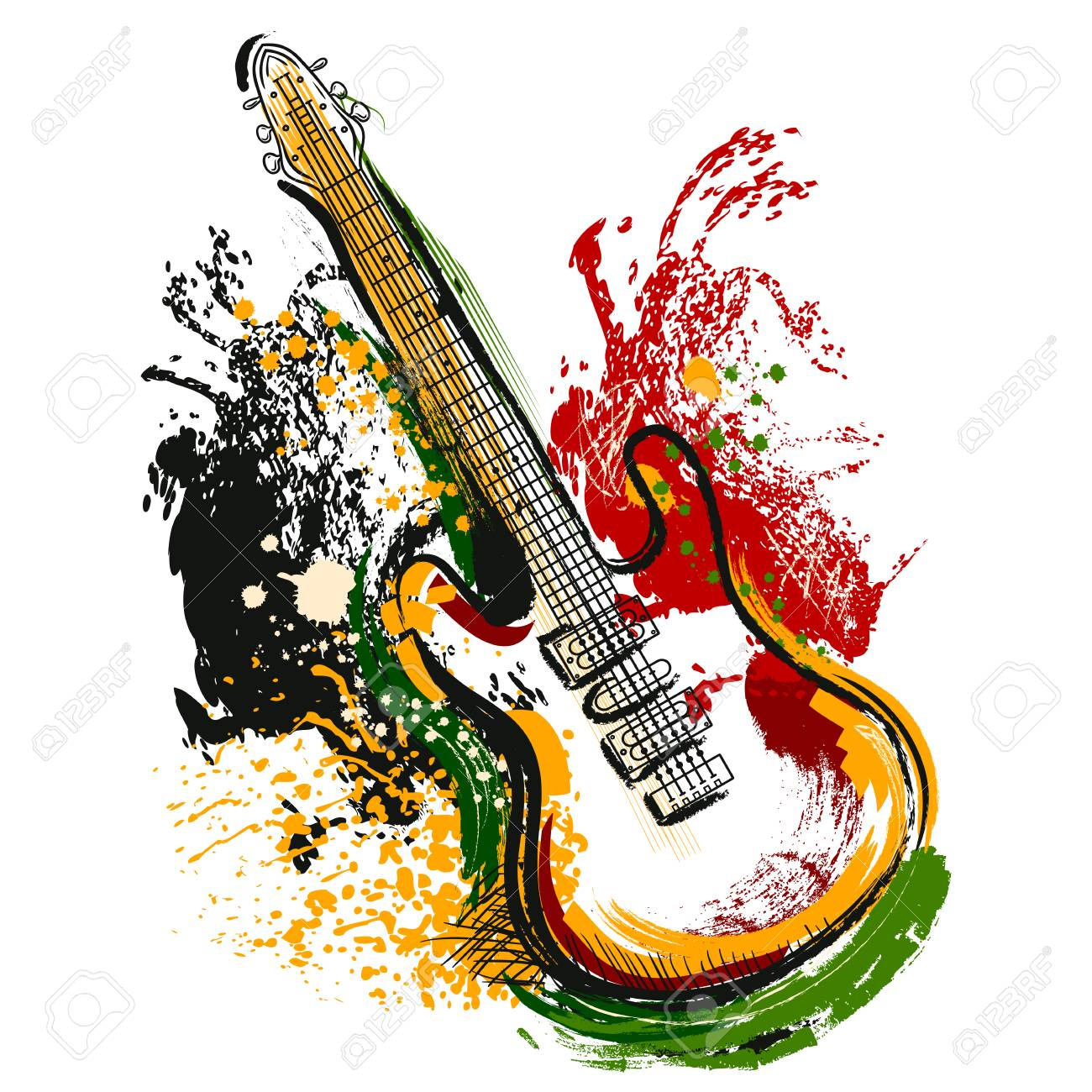 Electric guitar. Hand drawn grunge style art. Retro banner, card, t-shirt, bag, print, poster.Vintage colorful hand drawn vector illustration - 55587383
