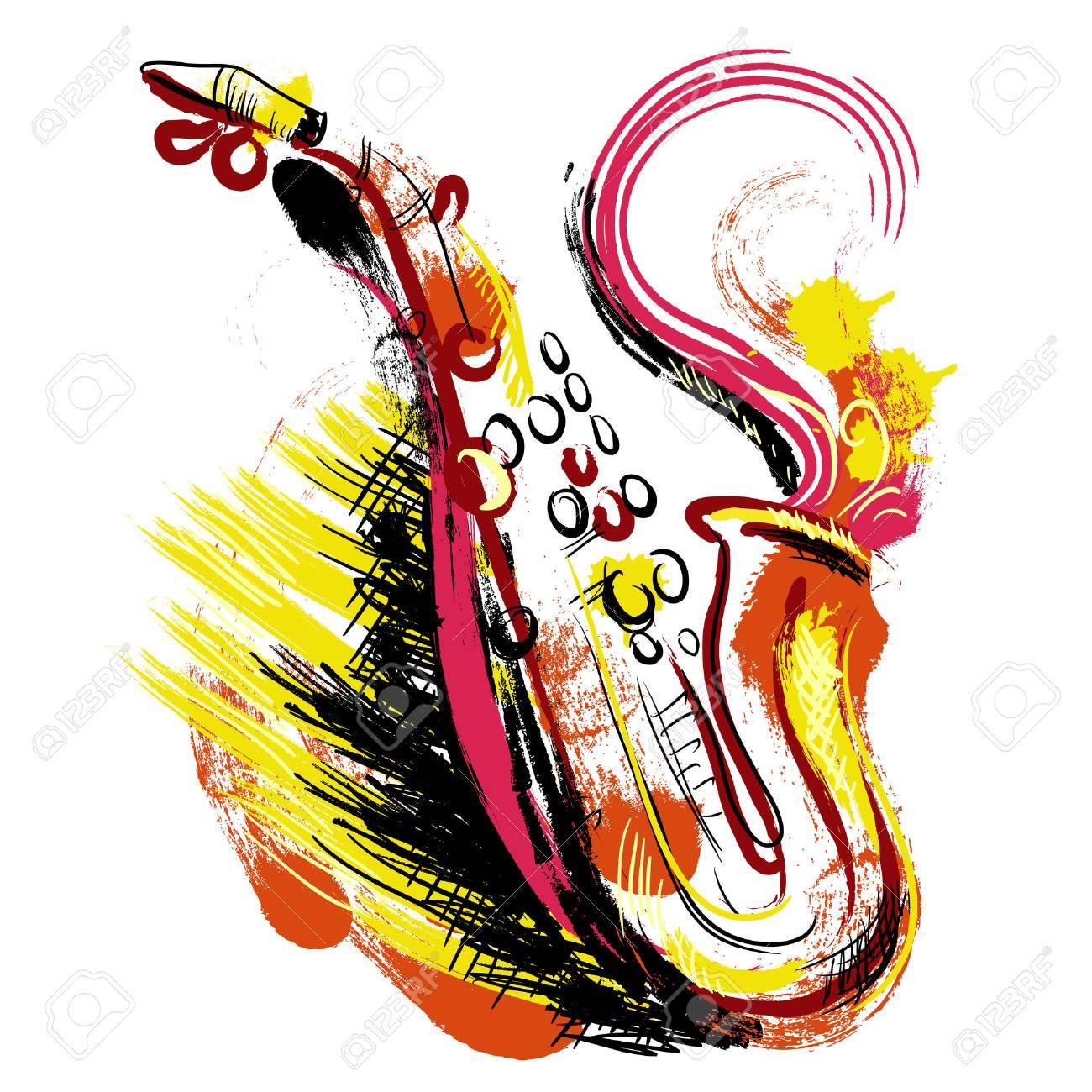 Saxophone. Hand drawn grunge style art. Colorful retro vector illustration. Banner, card, scrap booking, t-shirt, bag, print, poster. - 55587477