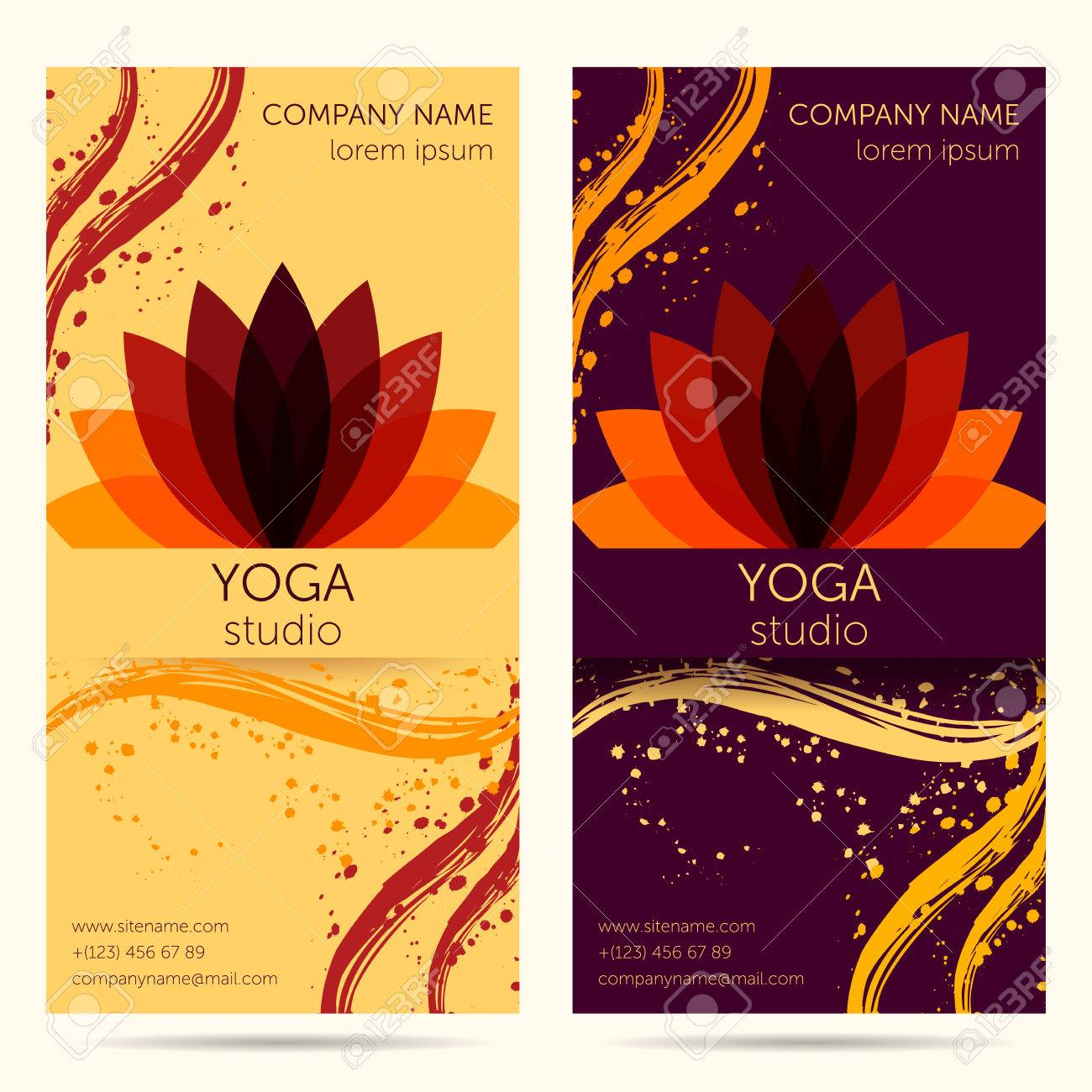Design Template For Yoga Studio With Abstract Lotus Flower Design Royalty Free Cliparts Vectors And Stock Illustration Image 55603133