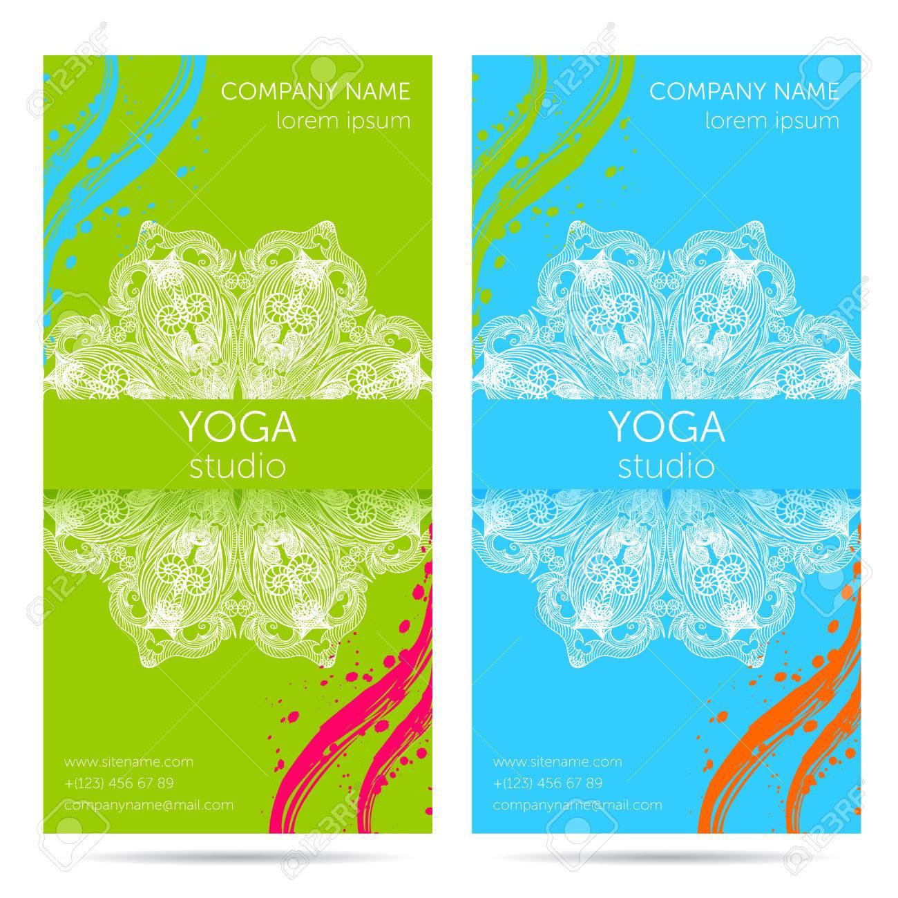 Design-Vorlage Für Yoga-Studio Mit Mandala Ornament Hintergrund ...