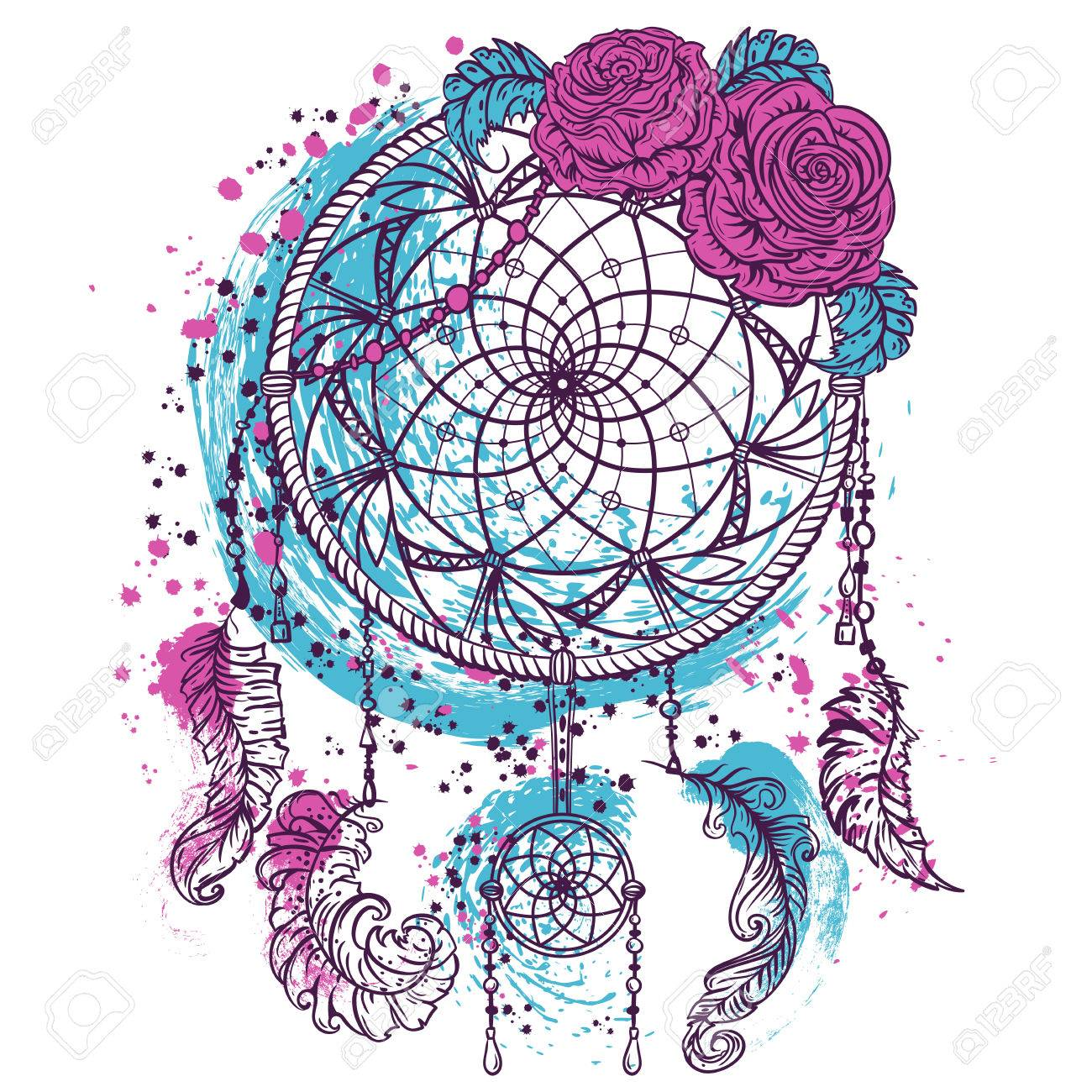 - Dream Catcher With Ornament And Roses. Tattoo Art. Colorful Hand