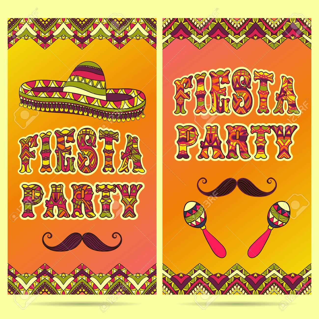 Hermosa Tarjeta De Felicitación Invitación Para Festival Fiesta Concepto De Diseño Para El Día De Fiesta Mexicana Del Cinco De Mayo Con Maracas