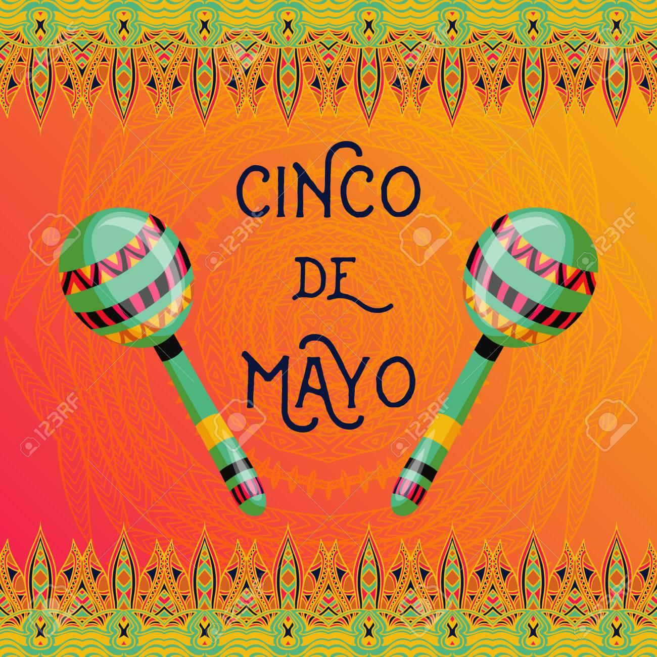 Hermosa Tarjeta De Felicitación Invitación Para Festival Fiesta Concepto De Diseño Para El Día De Fiesta Mexicana Del Cinco De Mayo Con Maracas Y