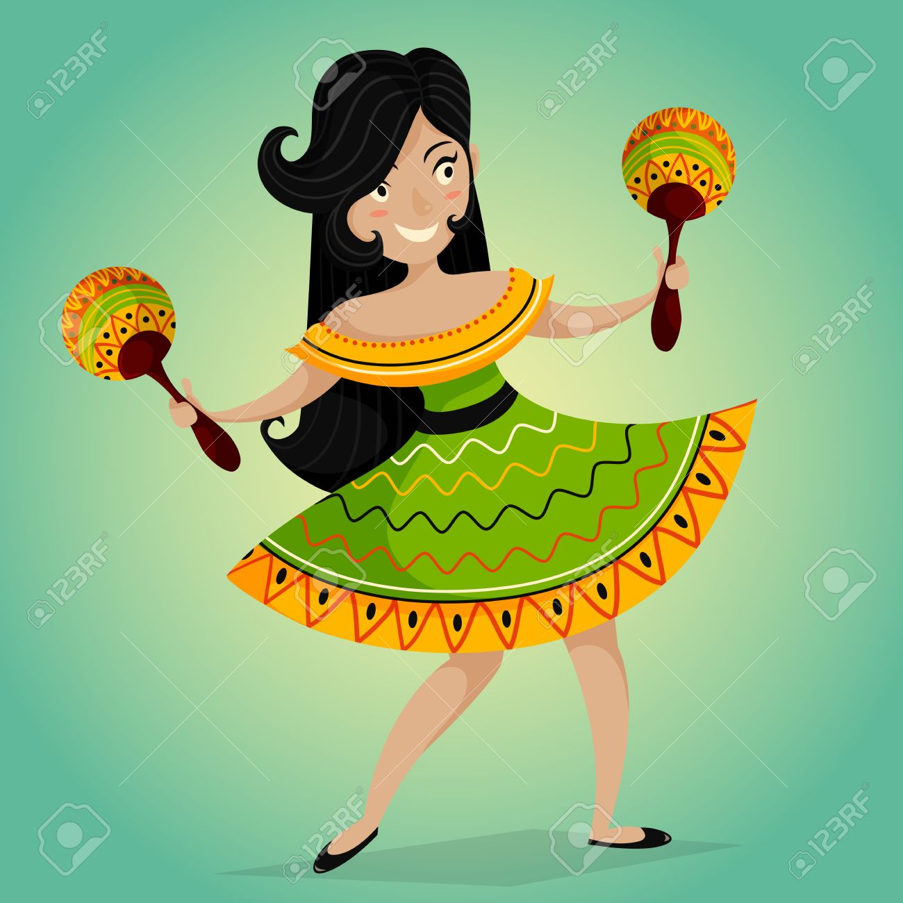 Mexican fiesta party invitation with beautiful mexican woman mexican fiesta party invitation with beautiful mexican woman dancing with maracasctor illustration poster stopboris Images