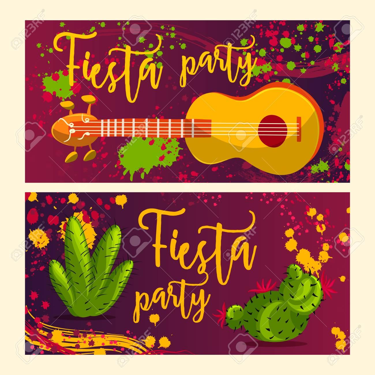 Hermosa Tarjeta De Felicitación Invitación Para Festival Fiesta Concepto De Diseño Para Mexicana Del Cinco De Mayo Fiesta Con Guitarra Cactus Y