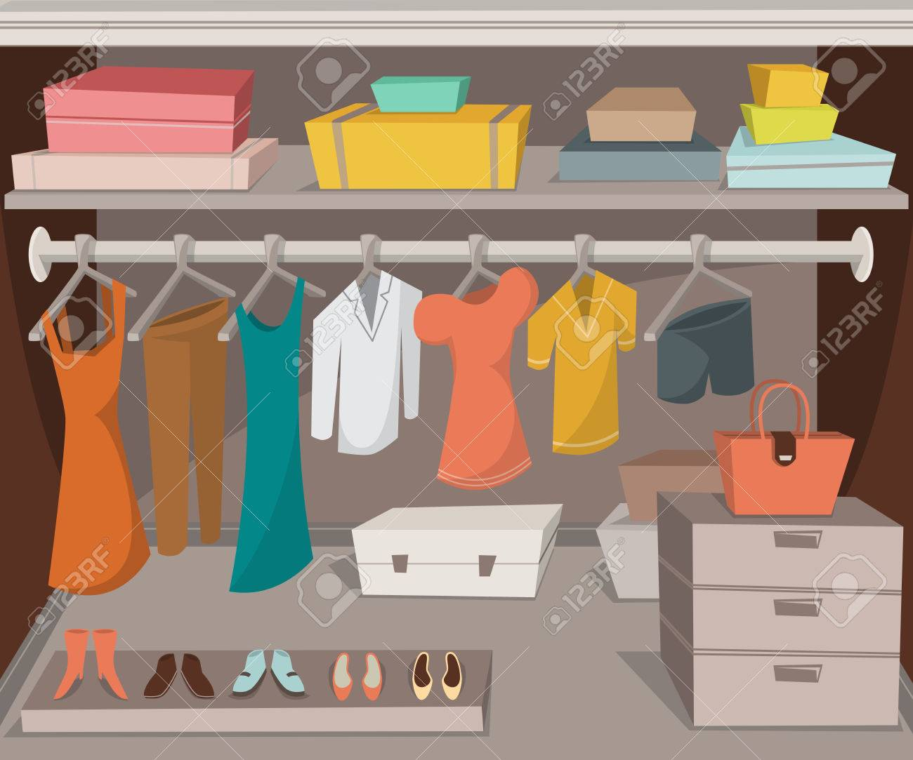 Wardrobe Room With Clothes Shoes And Boxes Cartoon Vector