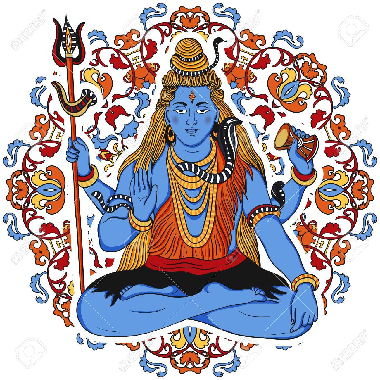 Banque dimages indian dieu shiva sur fleuri mandala fond concept design pour t shirt imprimé affiche carte dessiné à la main vintage illustration