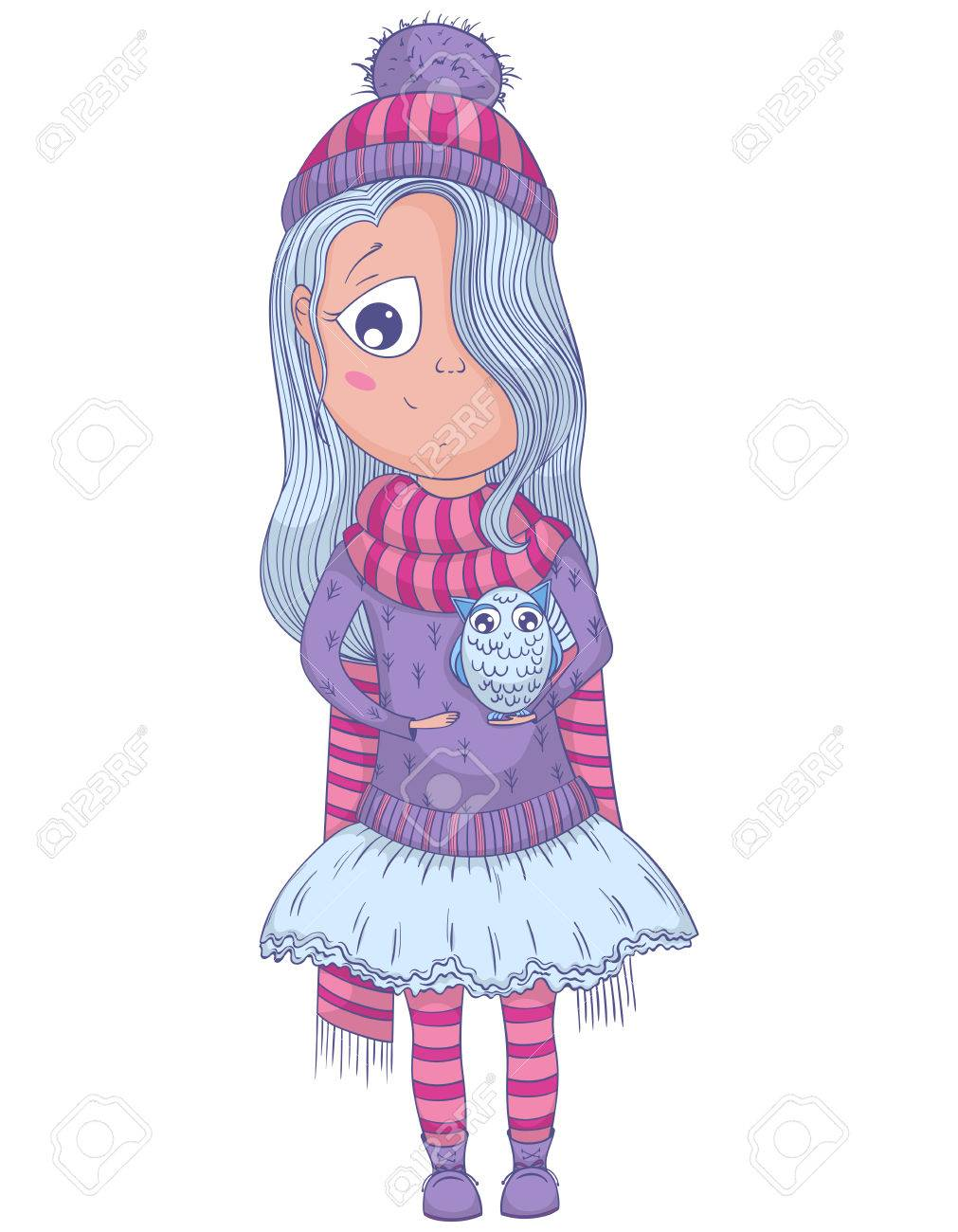 Cute anime girl in tutu and winter clothes with owl cartoon character illustration stock