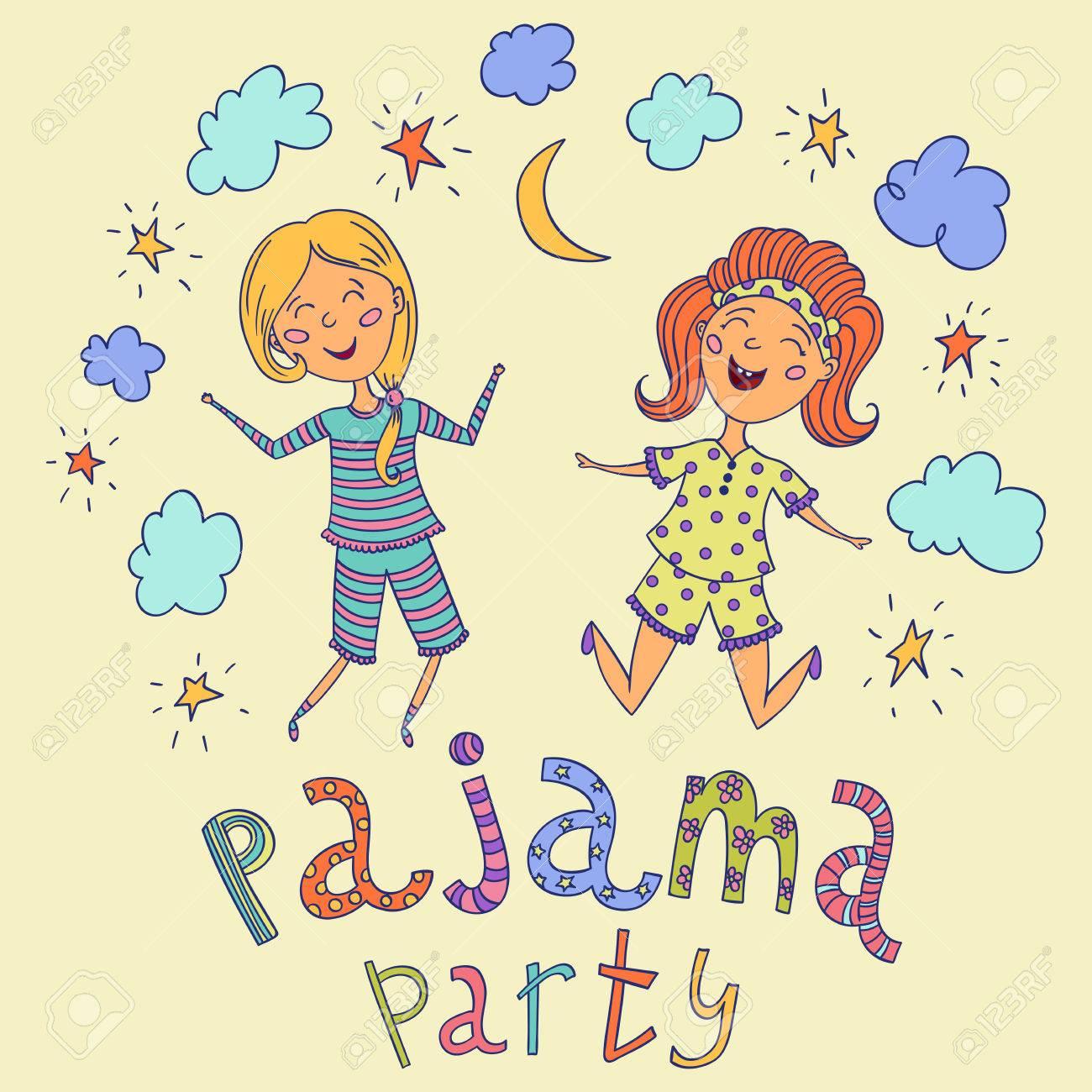 Soirée Pyjama Enfants Drôles Et Lettrage Avec Des étoiles Croissant Et Les Nuages Personnages De Dessins Animés Illustration