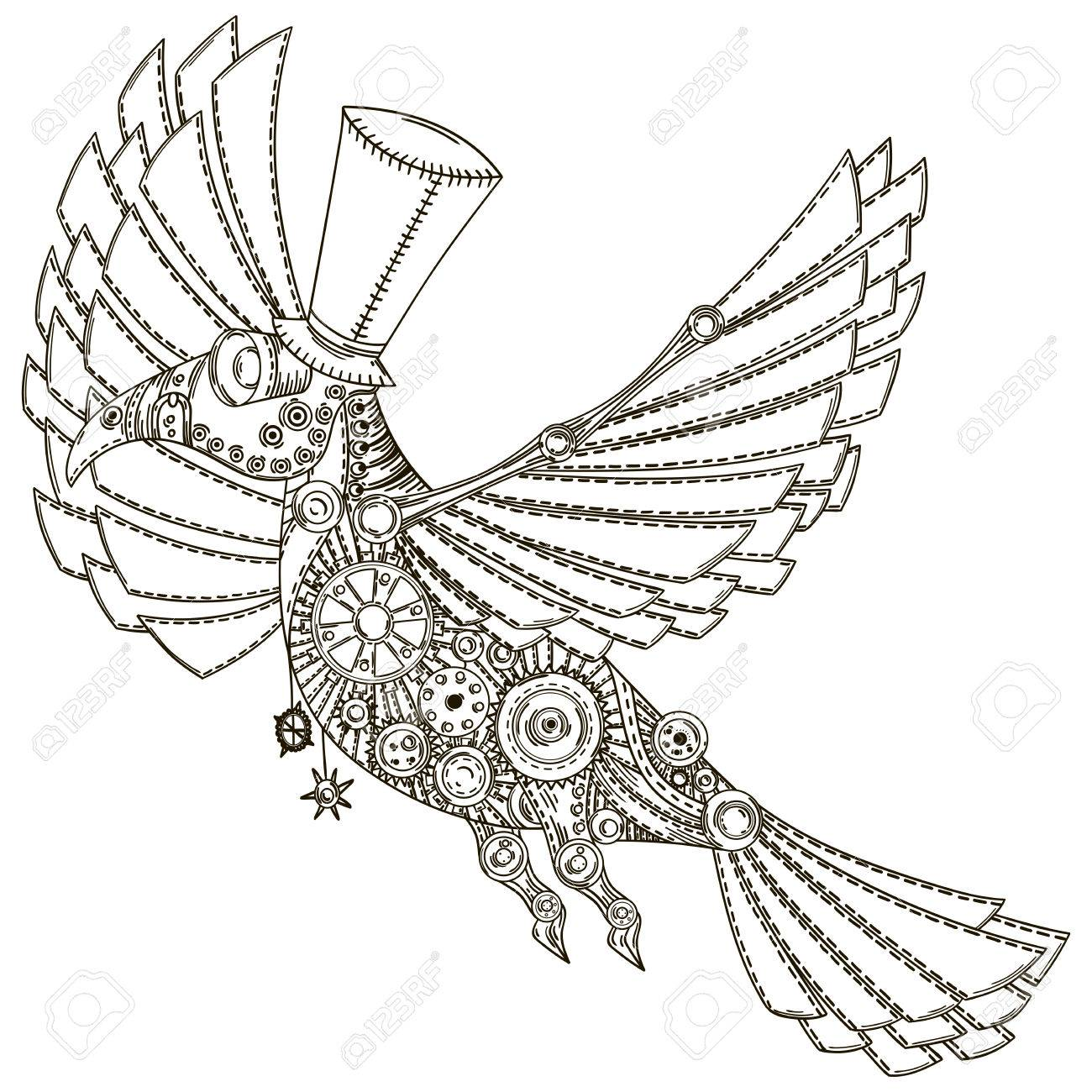 mechanical bird in ste unk style vintageillustration royalty free  mechanical bird in ste unk style vintageillustration stock vector 64271826