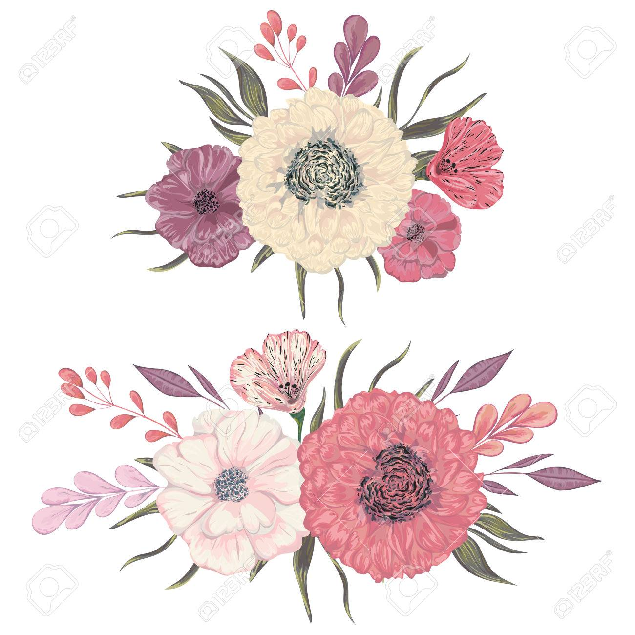 Collection Decorative Floral Design Elements For Wedding Invitations
