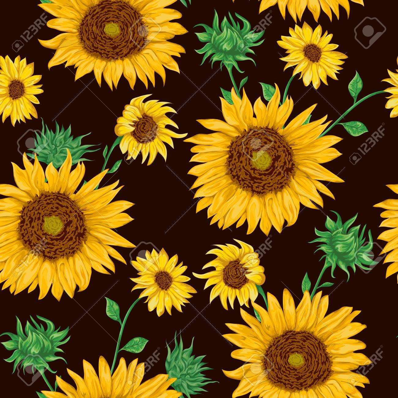 Seamless pattern with sunflowers on black background. Collection decorative floral design elements. Flowers, buds and leaf. Vintage hand drawn vector illustration in watercolor style. - 68605839