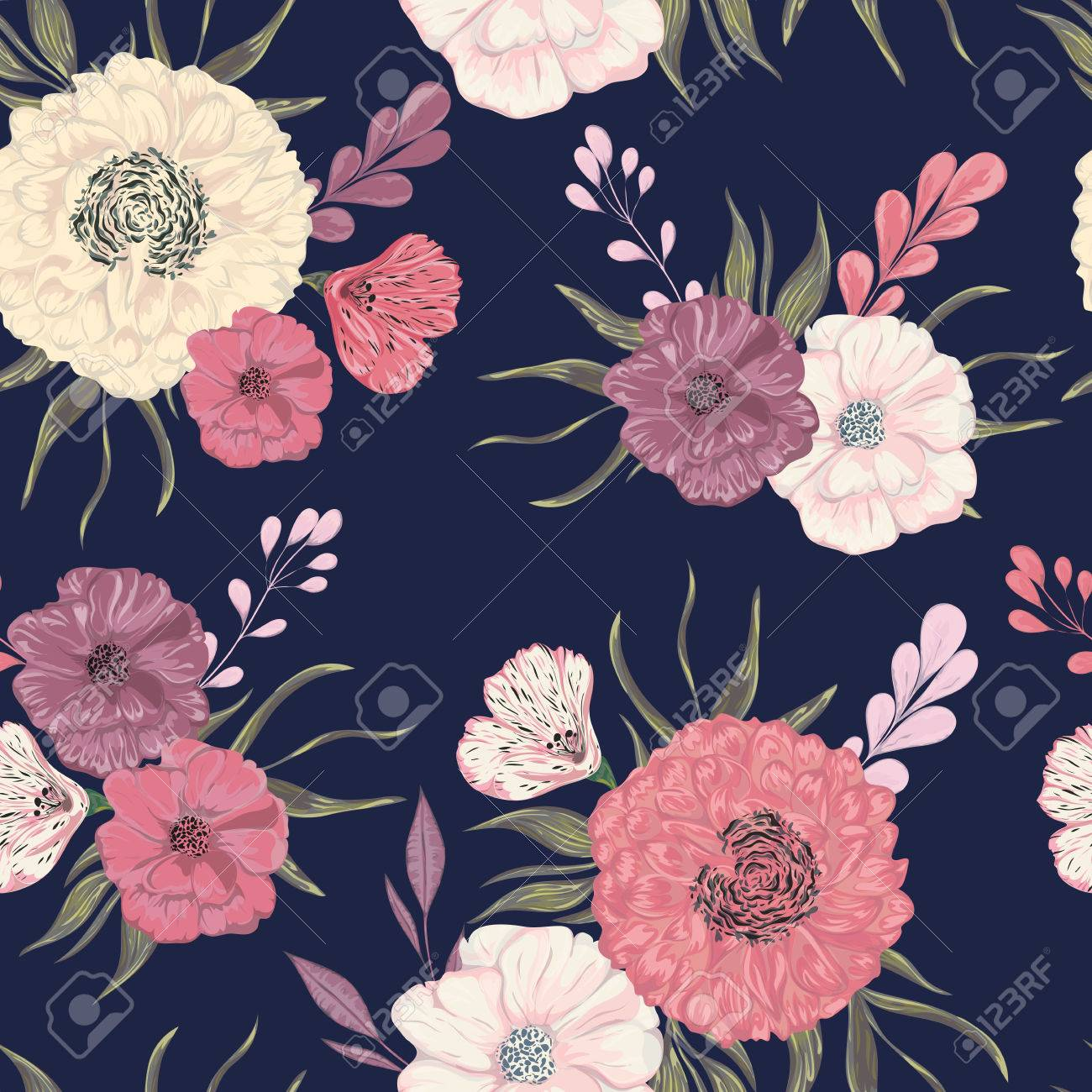 Seamless pattern with peony, dahlia and poppy  Collection decorative