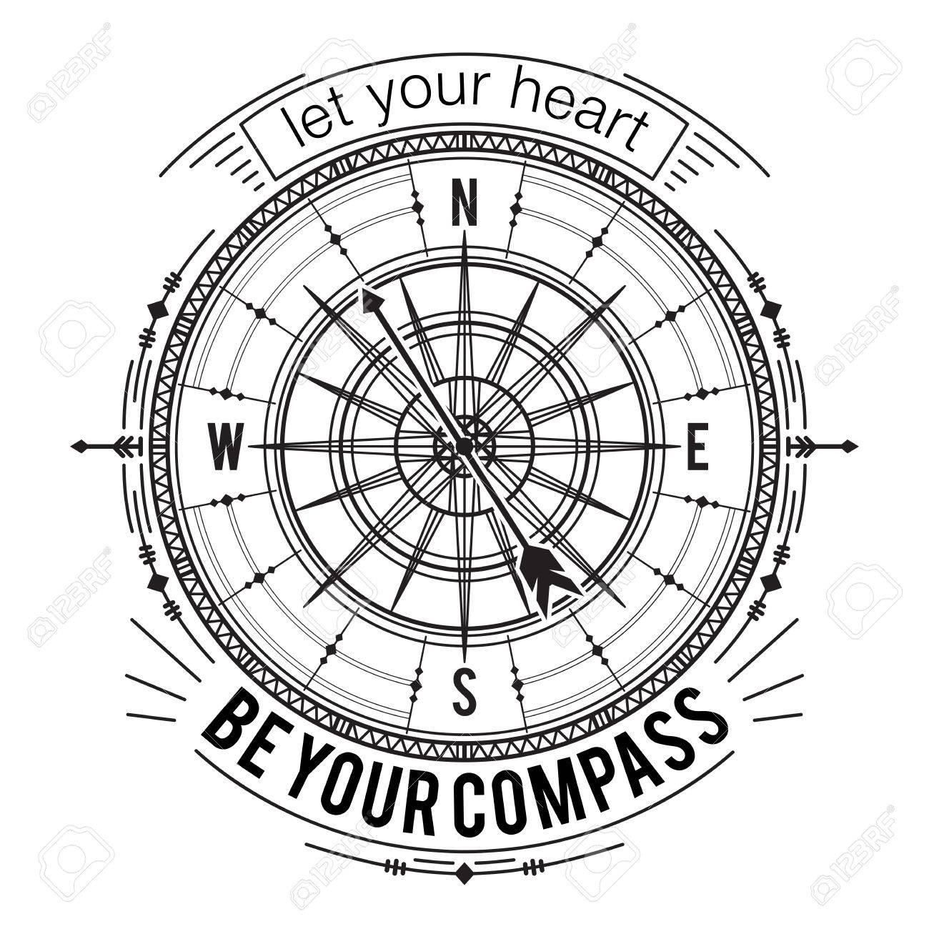 Typography poster with vintage compass and hand drawn elements. Inspirational quote. Let your heart be your compass. Concept design for t-shirt, print, card, tattoo. Vector illustration - 68896603