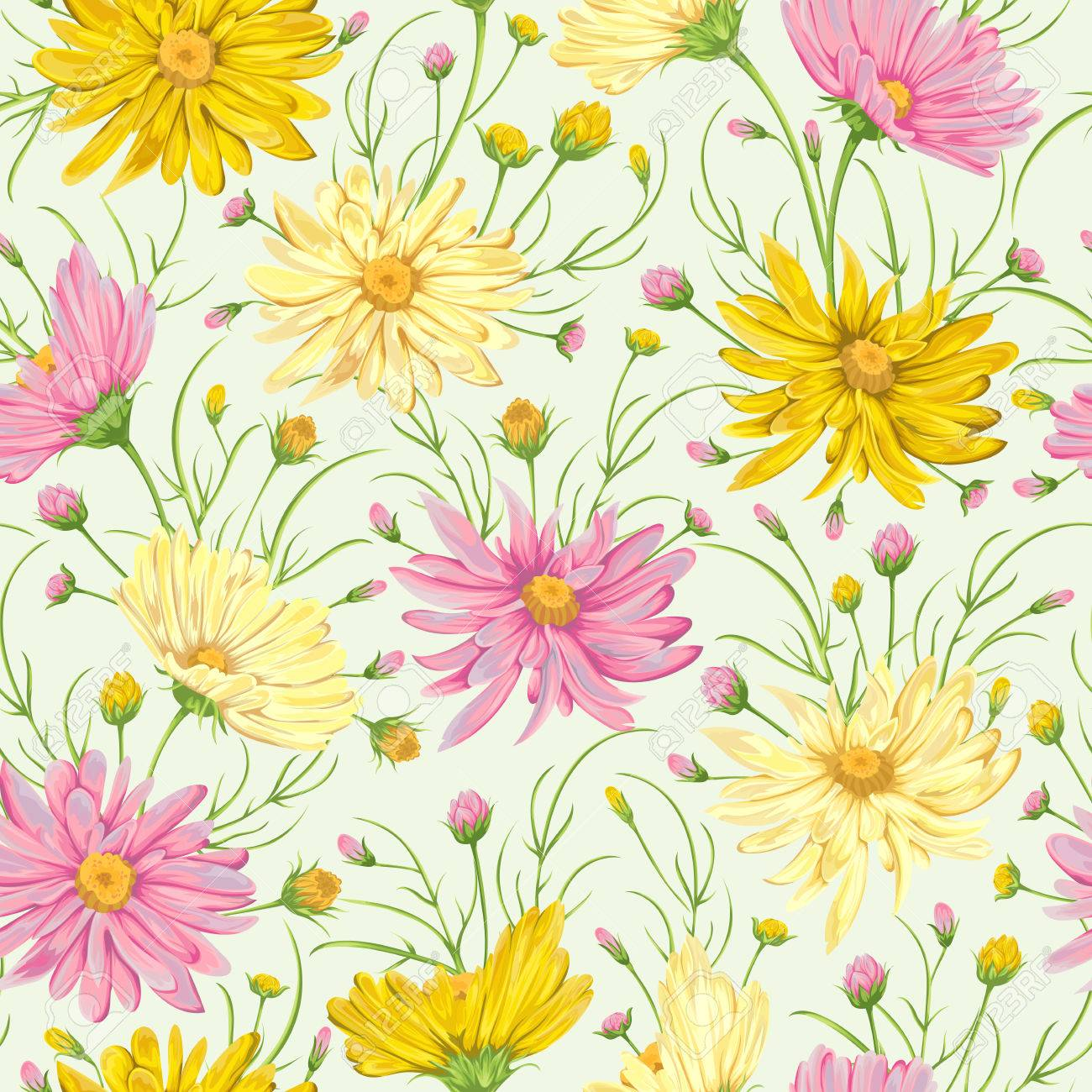Seamless Pattern With Yellow And Pink Chamomile Flowers. Rustic ...