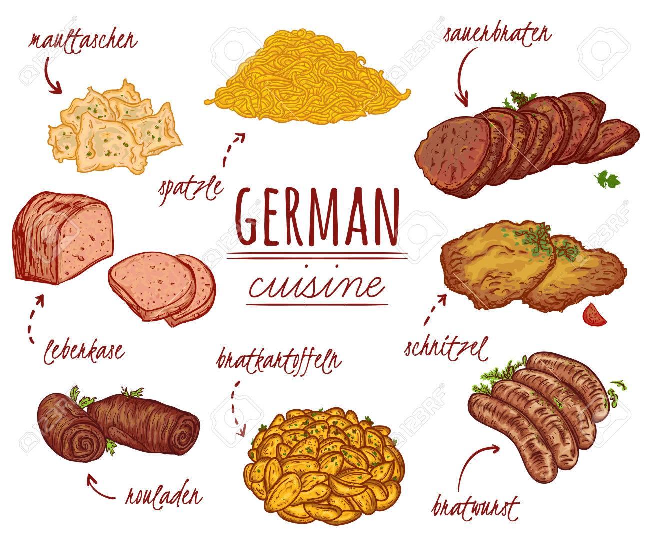 Deutsche Küche. Sammlung Von Köstlichen Speisen. Isolierte Elemente.  Konzeptentwurf Für Die Dekoration Restaurants