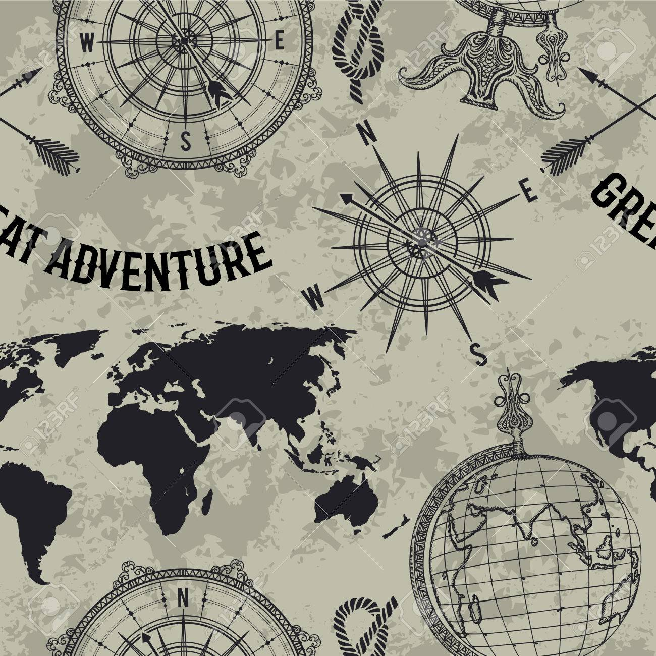 """Seamless pattern with vintage globe, compass, world map and wind rose. Retro hand drawn vector illustration """"Great adventure"""" in sketch style on grunge background - 70757164"""