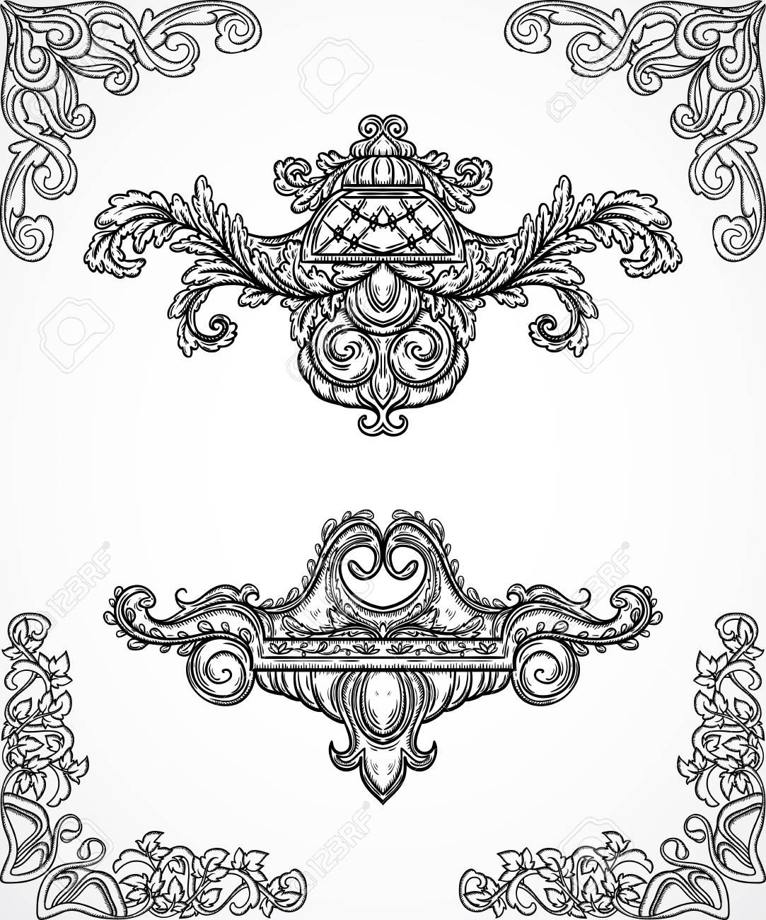 vector vintage architectural details design elements antique baroque classic style border and cartouche in engraving style