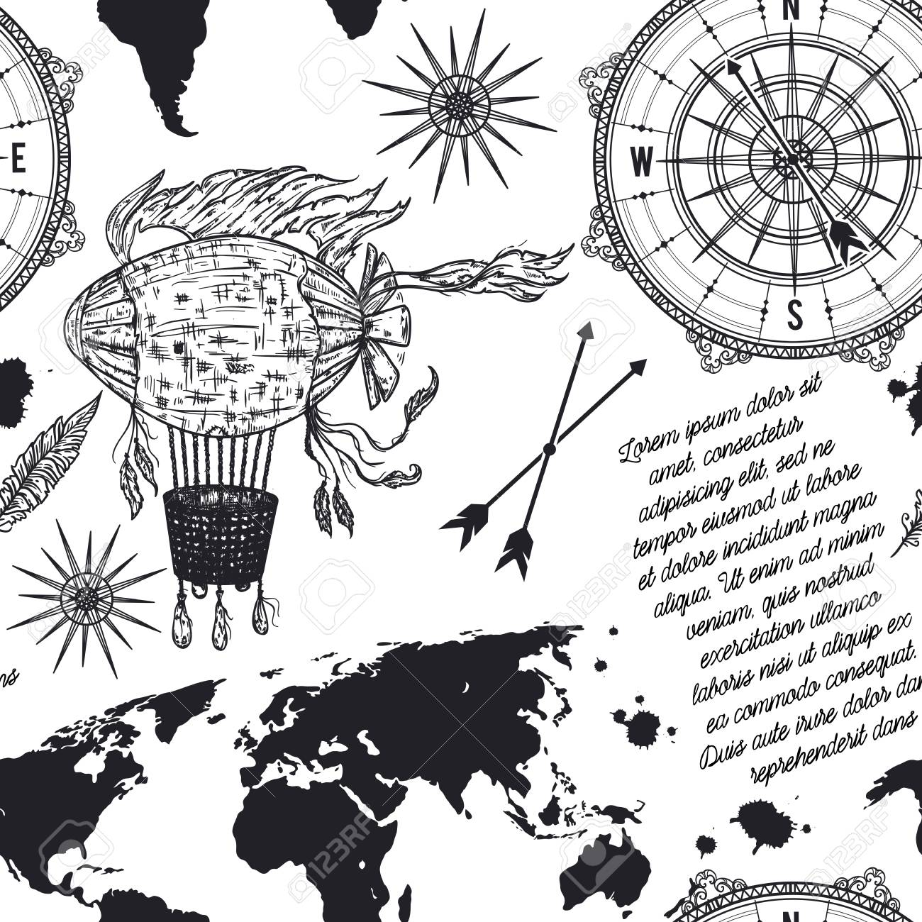 Seamless Pattern With Vintage Compass World Map Airship And