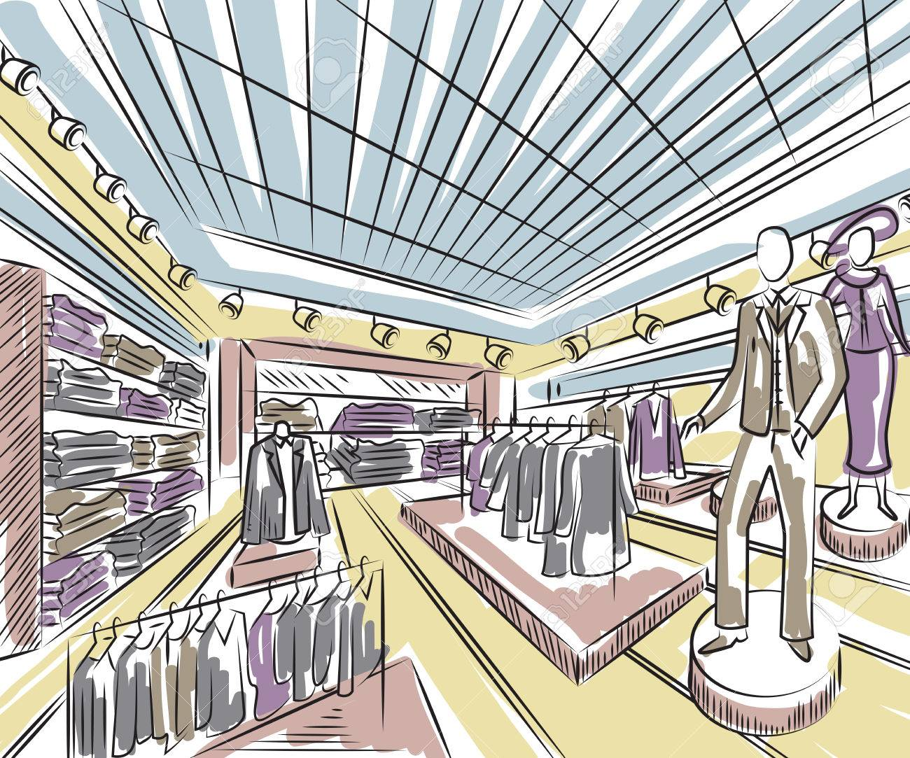 Fashion Store Interior Design In Sketch Style Vintage Hand Drawn Vector Illustration Stock