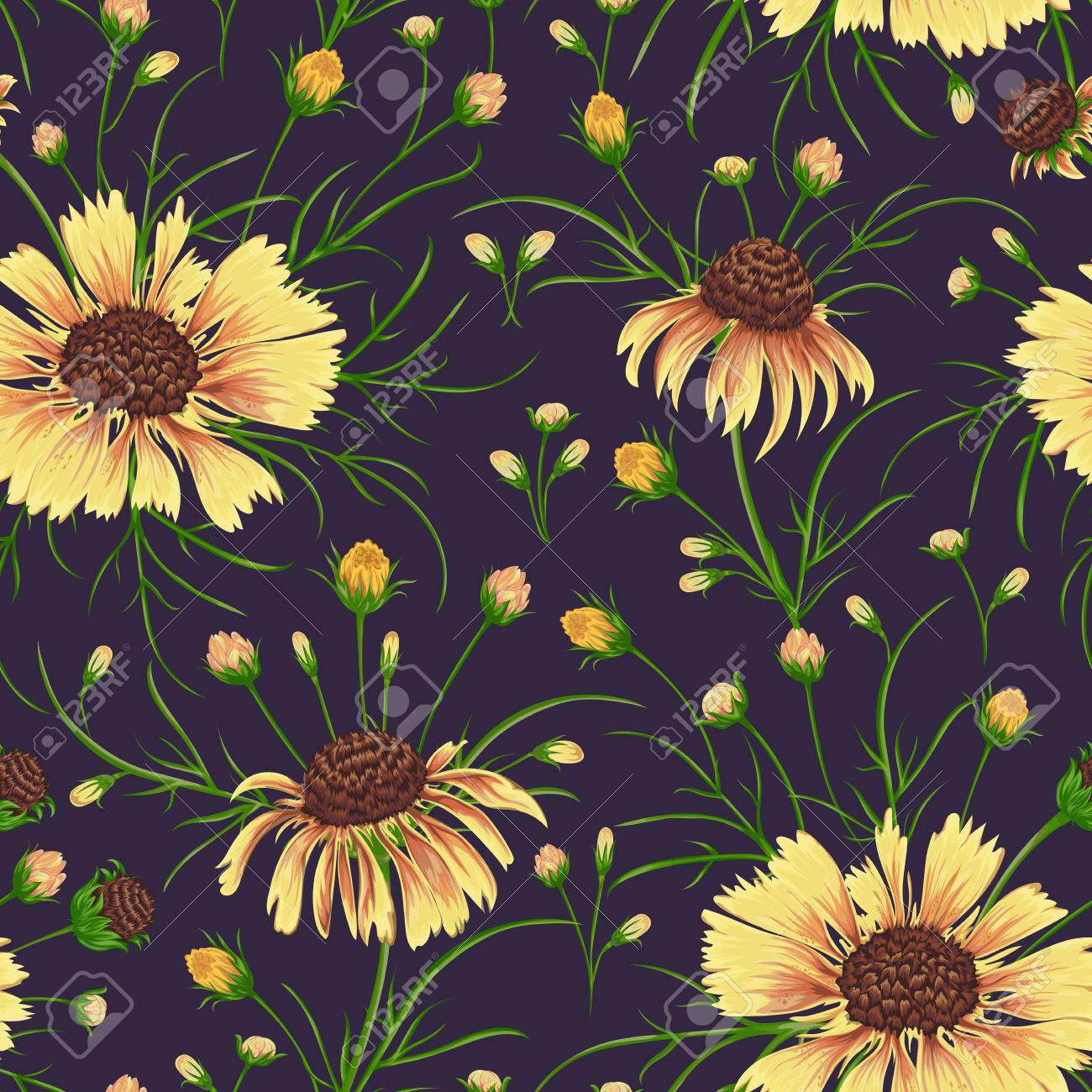 Seamless Pattern With Chamomile Flowers Rustic Floral Background Vintage Vector Botanical Illustration In Watercolor