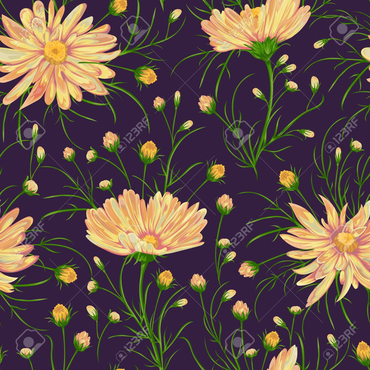 Seamless Pattern With Chamomile Flowers Rustic Floral Background Vintage Vector Illustration In Watercolor Style