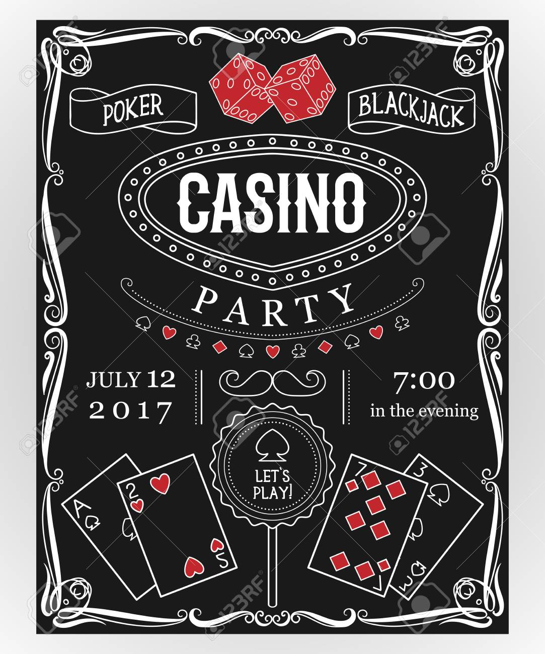Casino party invitation on chalkboard with decorative elements. Vintage vector illustration - 81385348